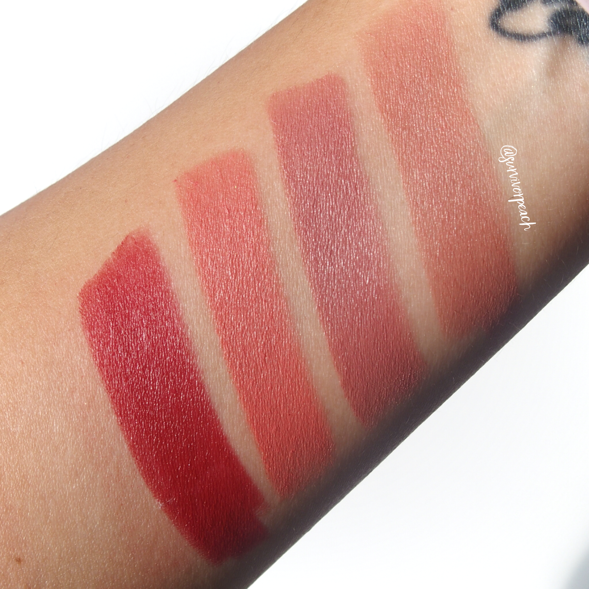 Swatches of the Charlotte Tilbury Matte Revolution Lipsticks in shades English Beauty, Pillow Talk, Sexy Sienna, Legendary Queen
