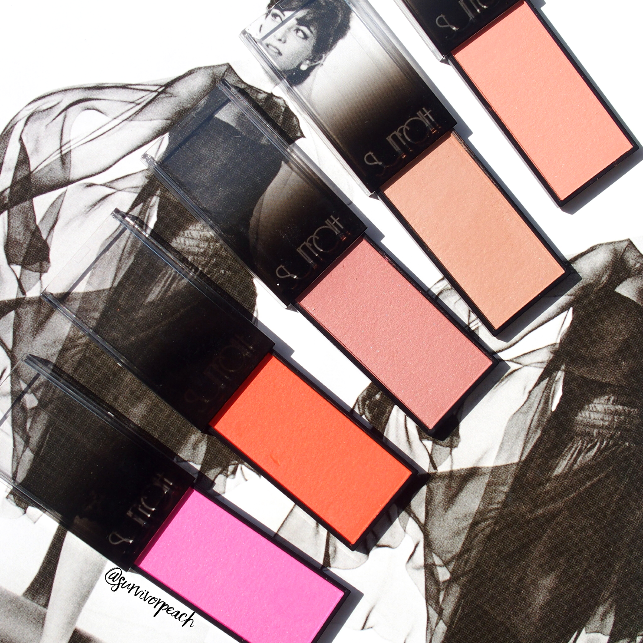 Surratt Astistique Blush in shades La Rosee Du Soir, La Vie In Rose, Parfait, Brillante Idee, and Se Pomponer
