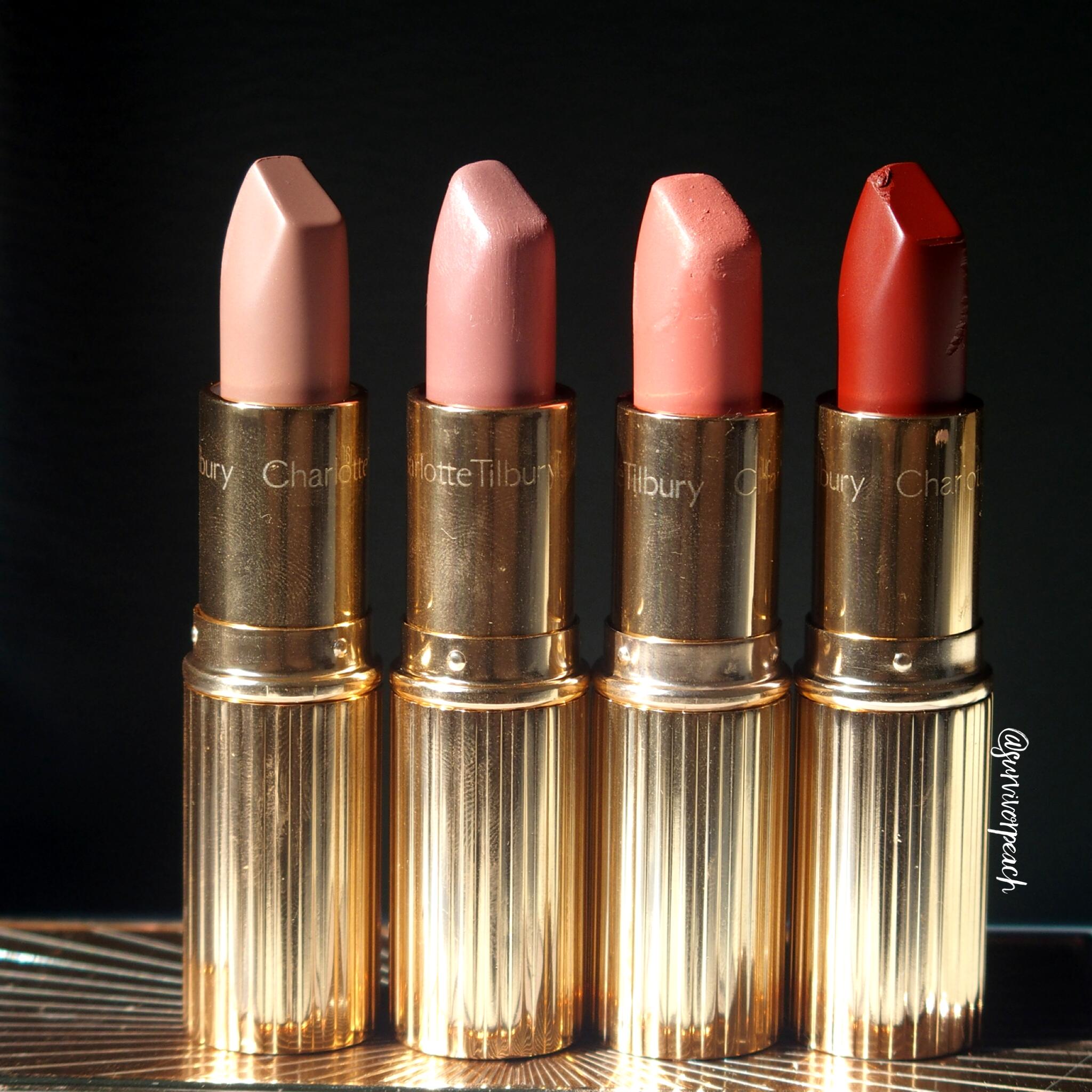 Charlotte Tilbury Matte Revolution Lipsticks in shades English Beauty, Pillow Talk, Sexy Sienna, Legendary Queen