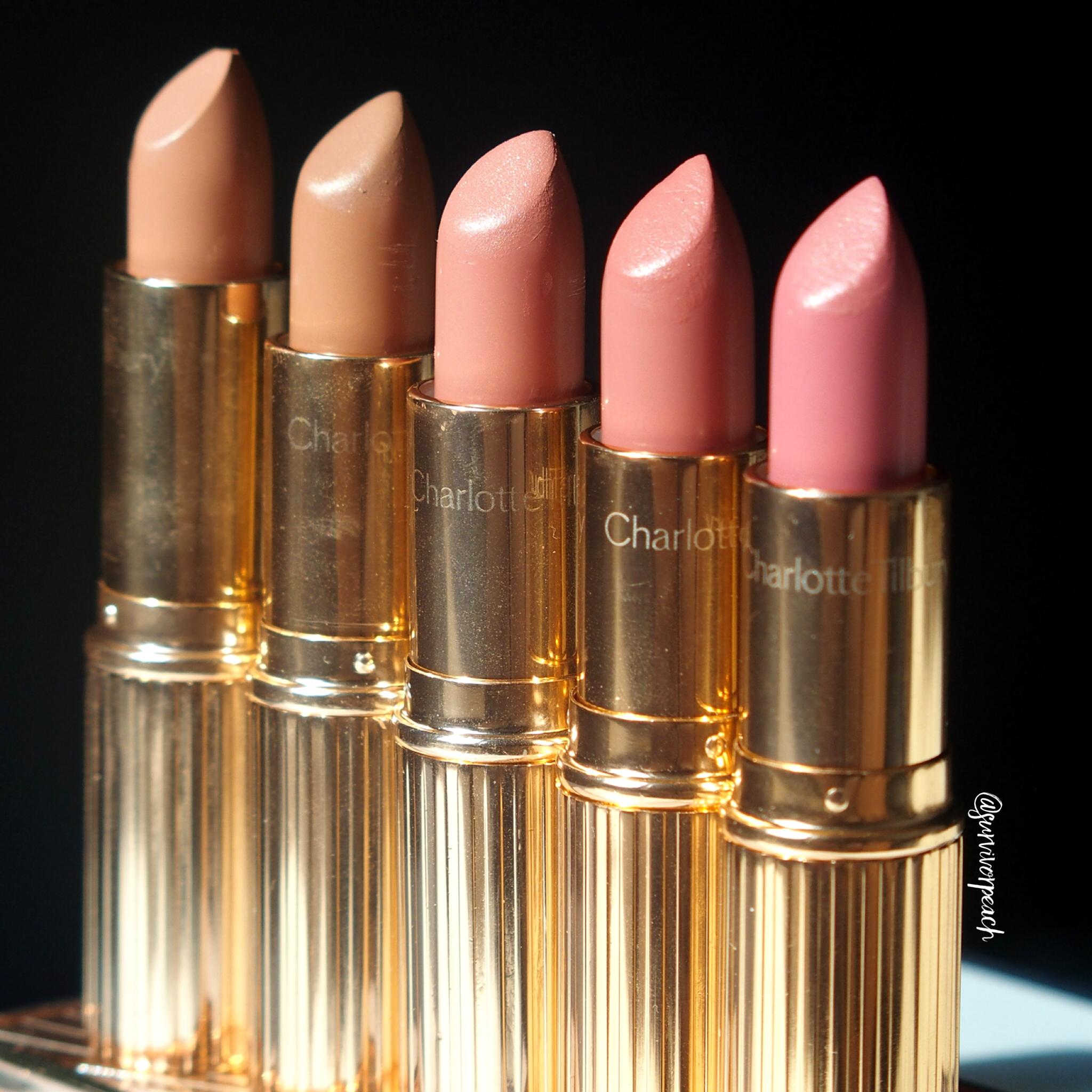 Charlotte Tilbury K.I.S.S.I.N.G Lipsticks in shades Penelope Pink, Hepburn Honey, Bitch Perfect, American Sweetheart, The Duchess