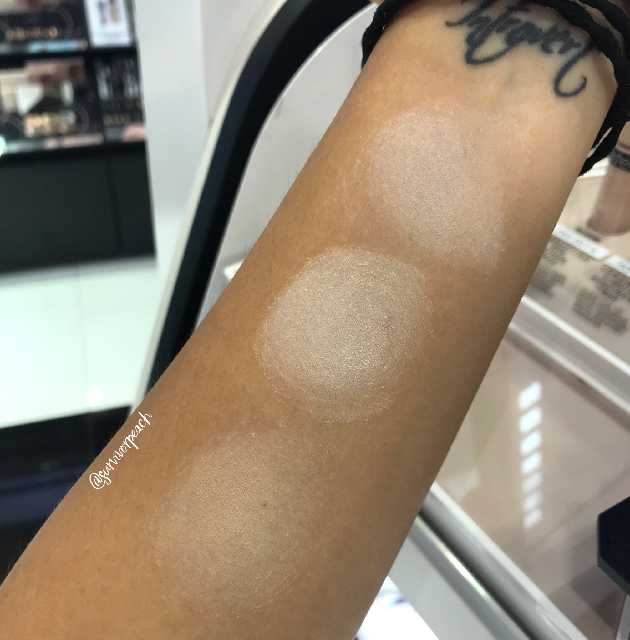 Swatches of the Fenty Beauty Pro Filt'r Instant Retouch Setting Powder - Lavender, Butter, Banana