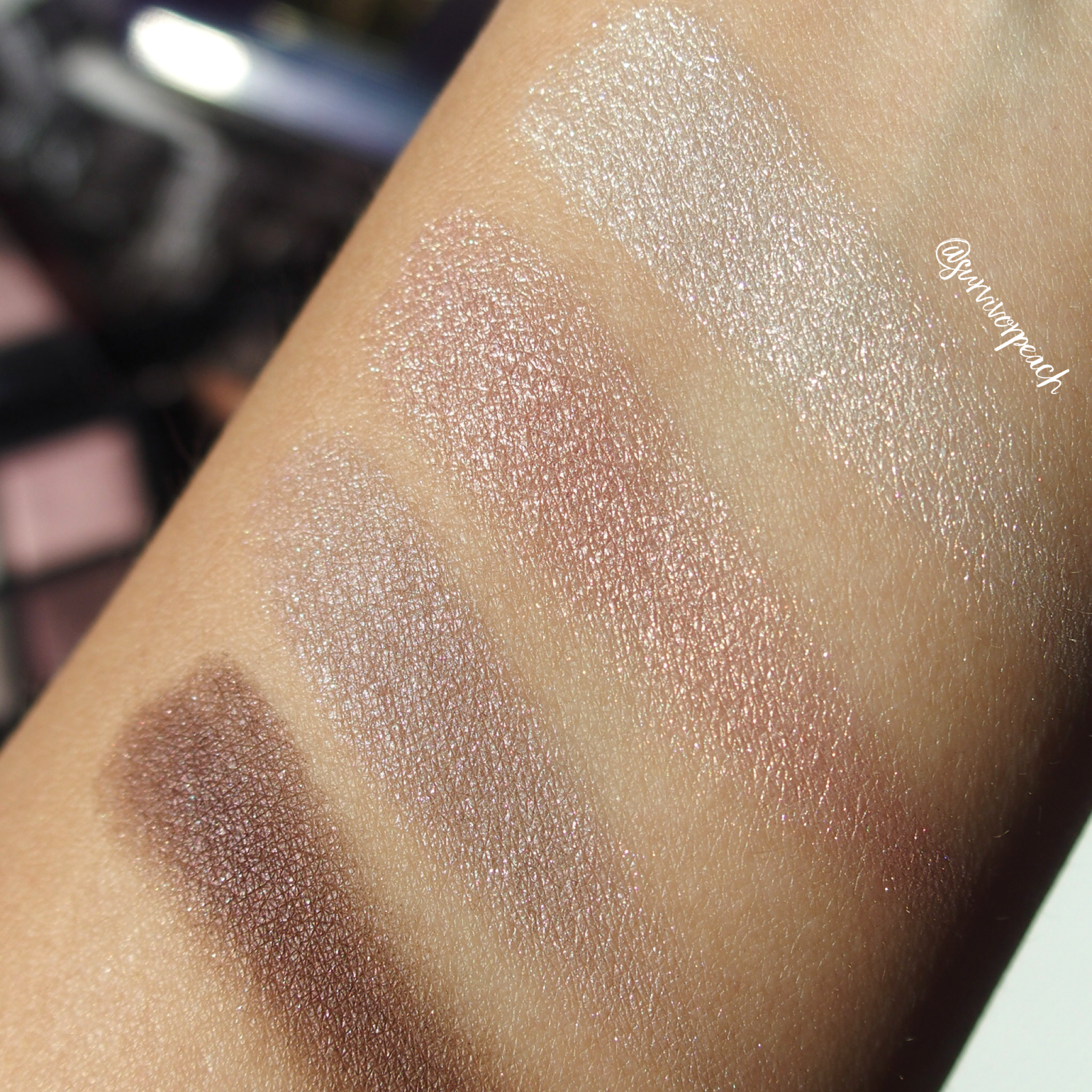 Swatches of the Tomford Virgin Orchid Eyeshadow Quad