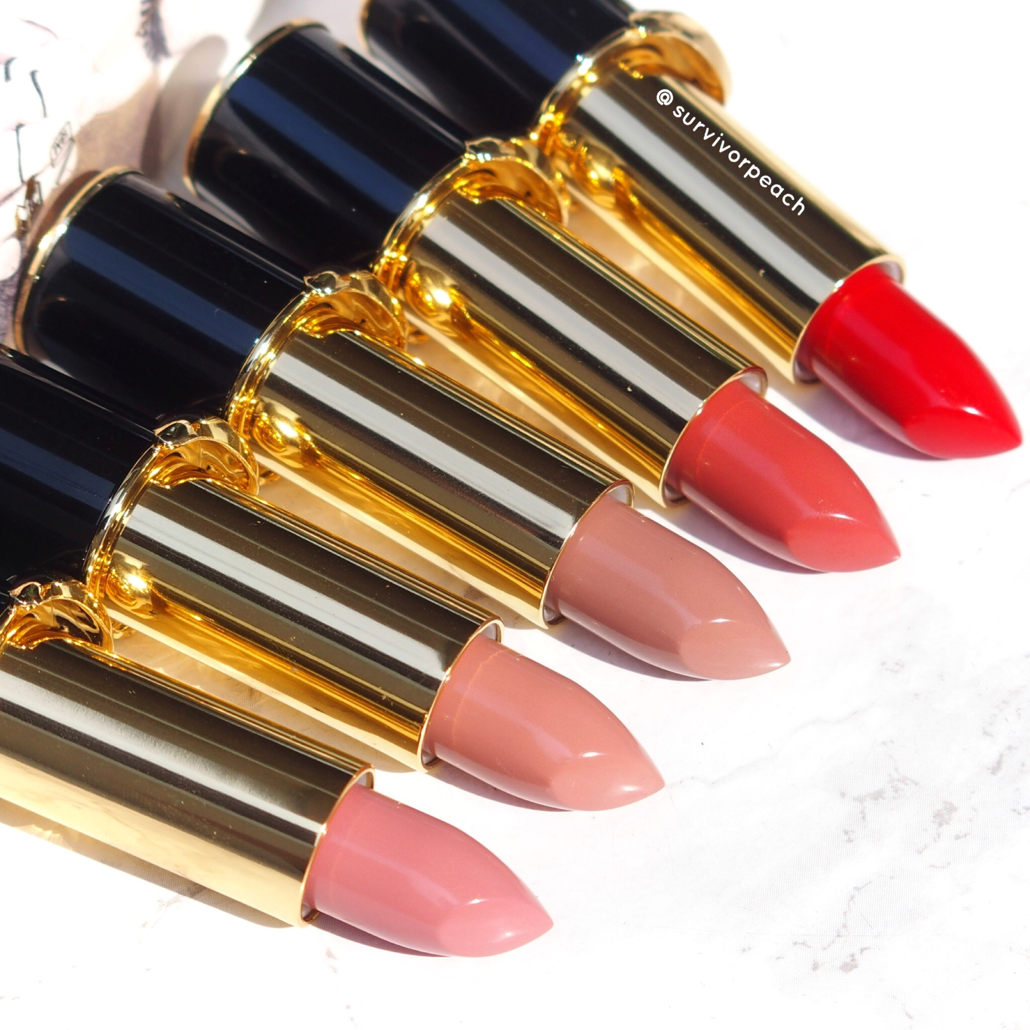 Pat McGrath Labs Luxe Trance Lipsticks in shades Donatella, Valetta, Sextrology, Tropicalia, and Mcgrath Muse