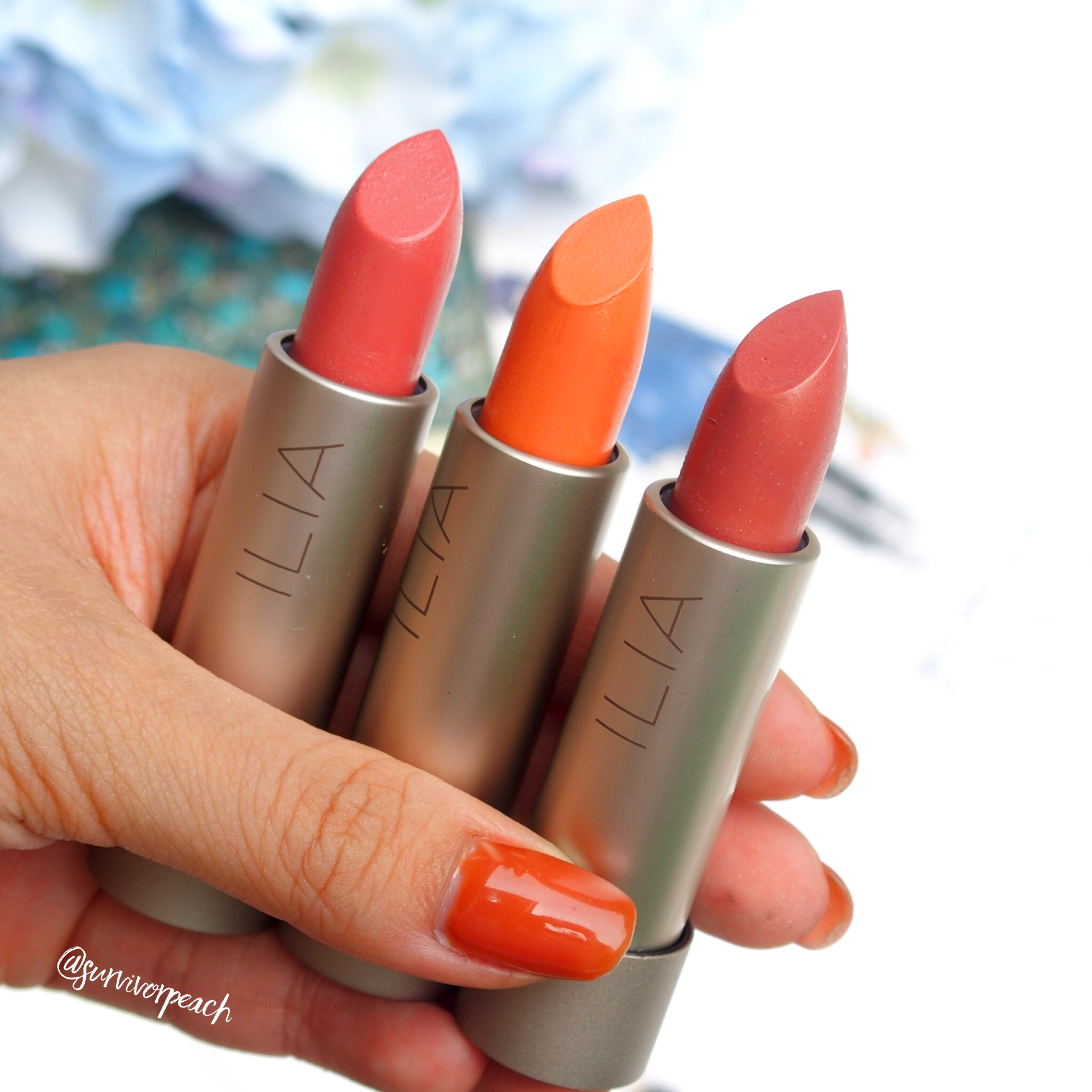 Ilia Tinted Lip conditioners in shades Nobody's Baby, Dizzy, and These Days