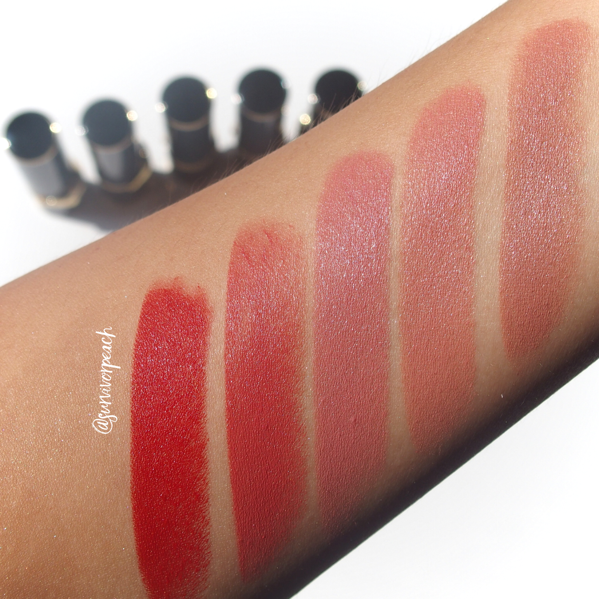 Swatches of the Pat McGrath Labs Luxe Trance Lipsticks in shades Donatella, Valetta, Sextrology, Tropicalia, and Mcgrath Muse