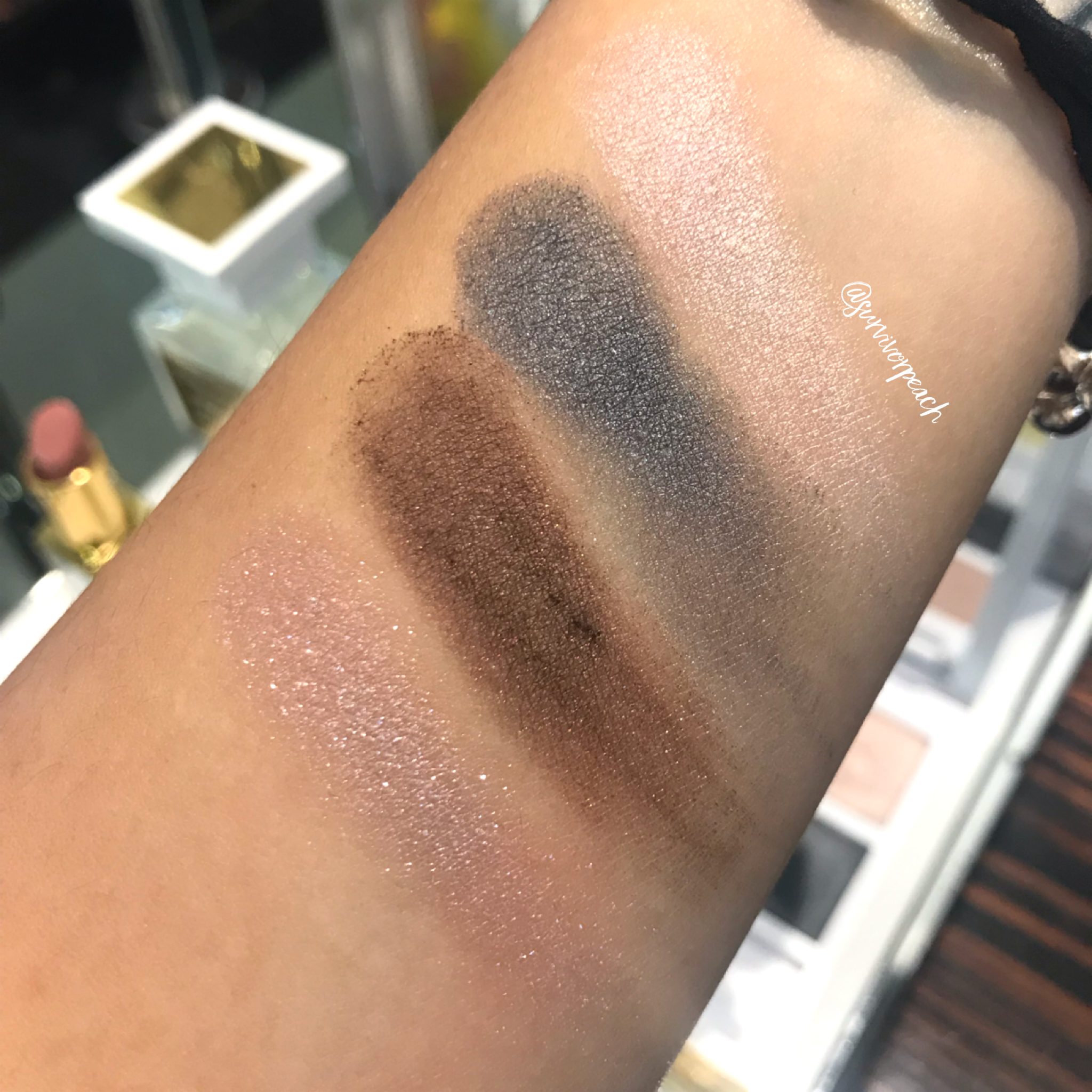 Swatches of the Tom Ford White Suede Eye Quad