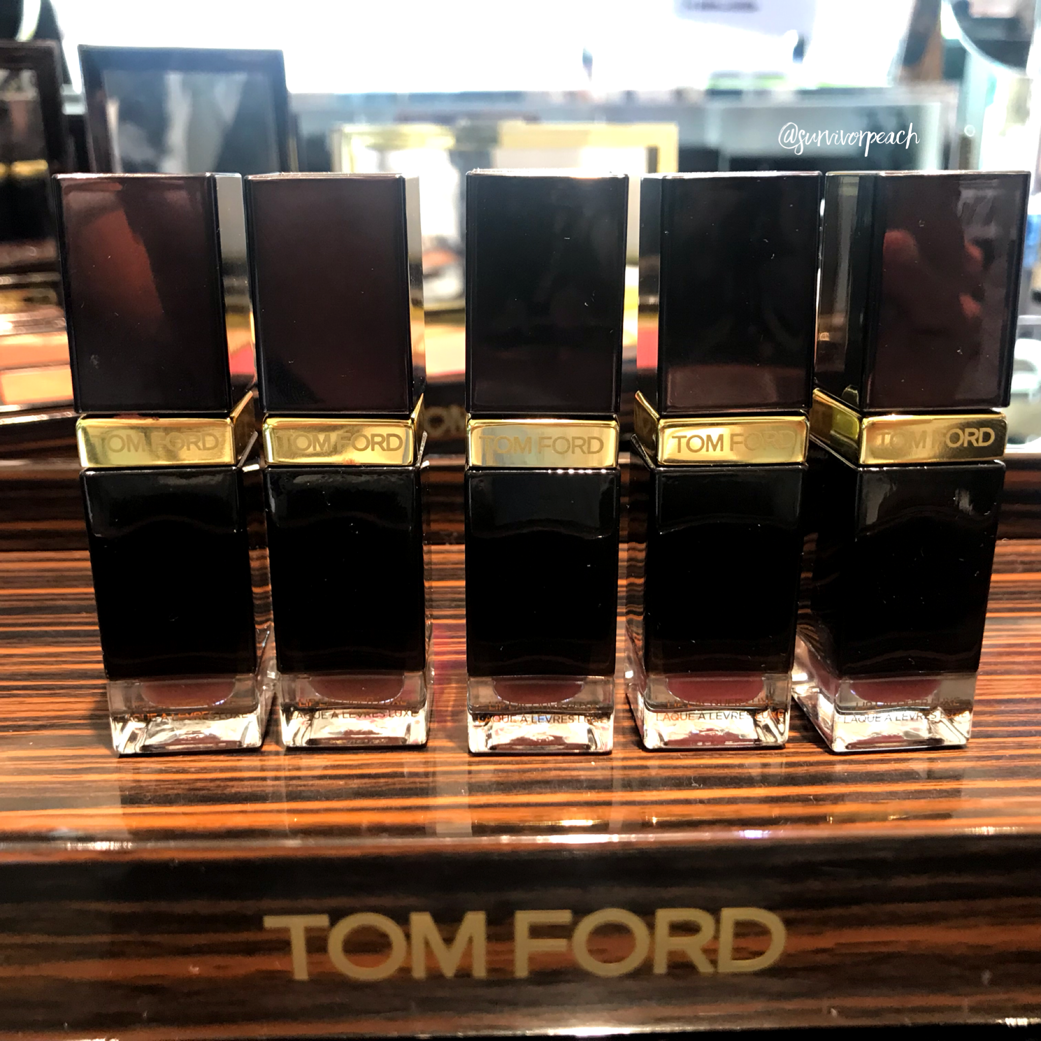 Tomford Lip Lacquer Luxe Matte in shades Darling, Quiver, Lark, Insouciant, and Pussycat