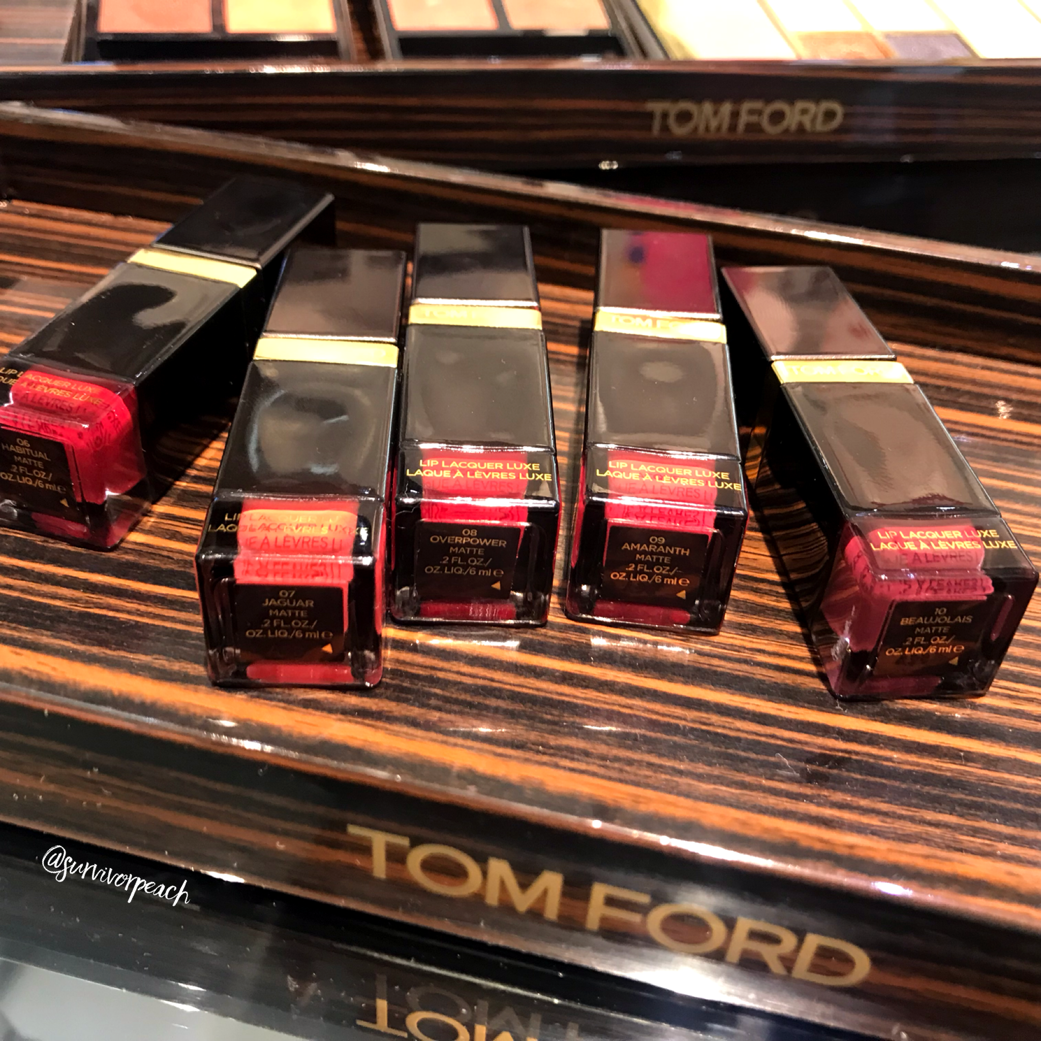 Tomford Lip Lacquer Luxe Vinyl in shades Softcore, Unzip, Knockout, Intimidate, Infiltrate