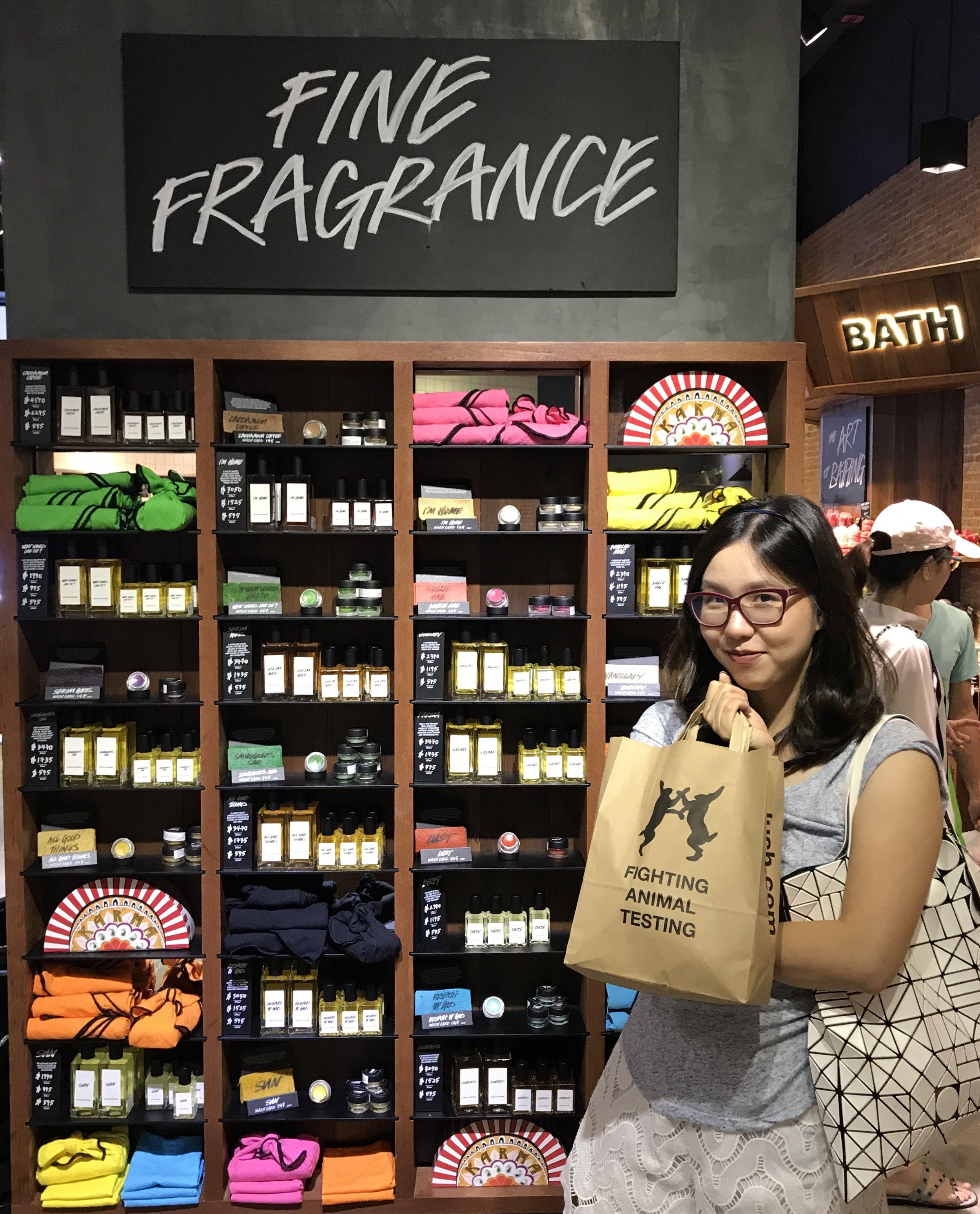 Lush perfume shelf