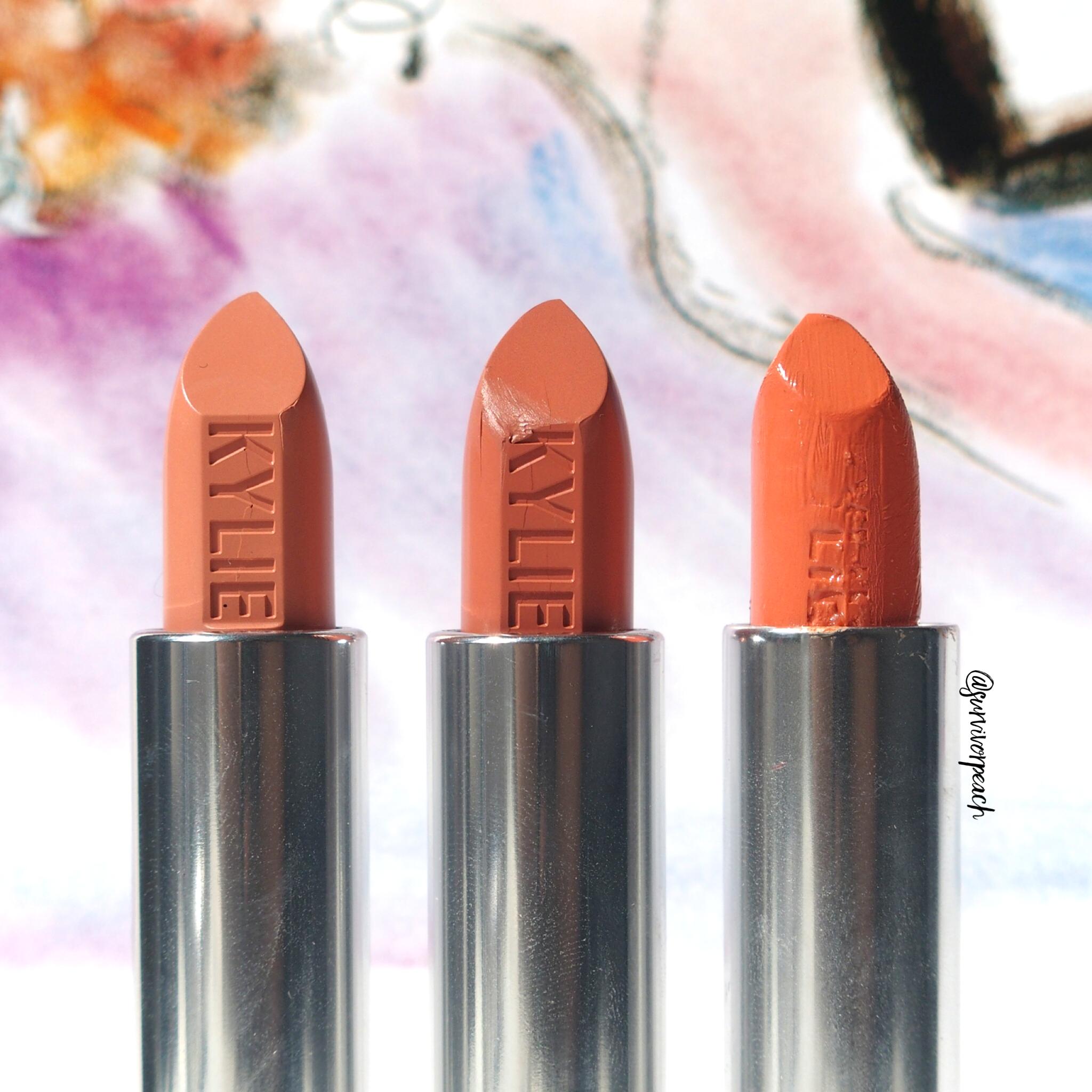 Kylie Cosmetics Creme lipstick in shades Butterscotch, Dulce De Leche, Sherbet