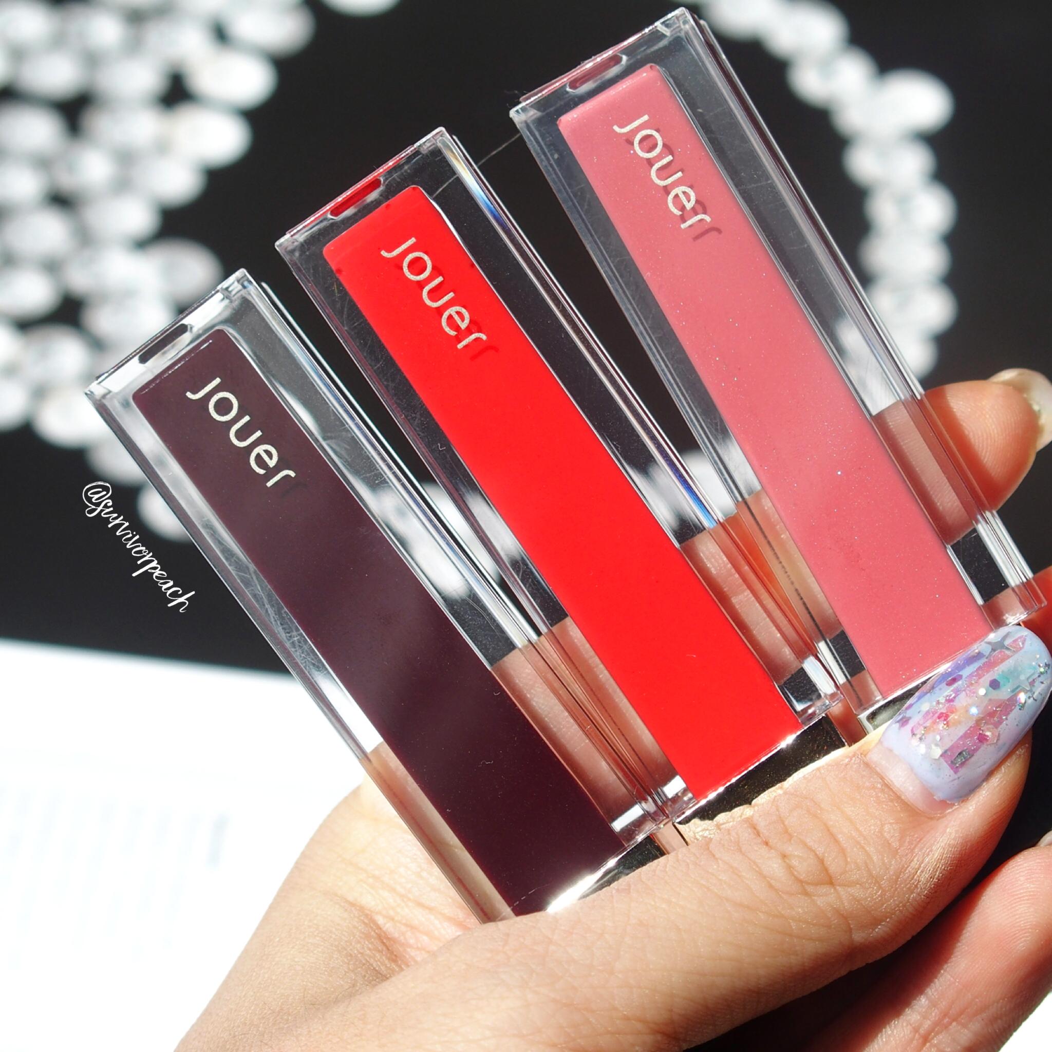 Jouer Sheer Pigment Lipgloss in shades Worth Ave, Serrano, Via Condotti.