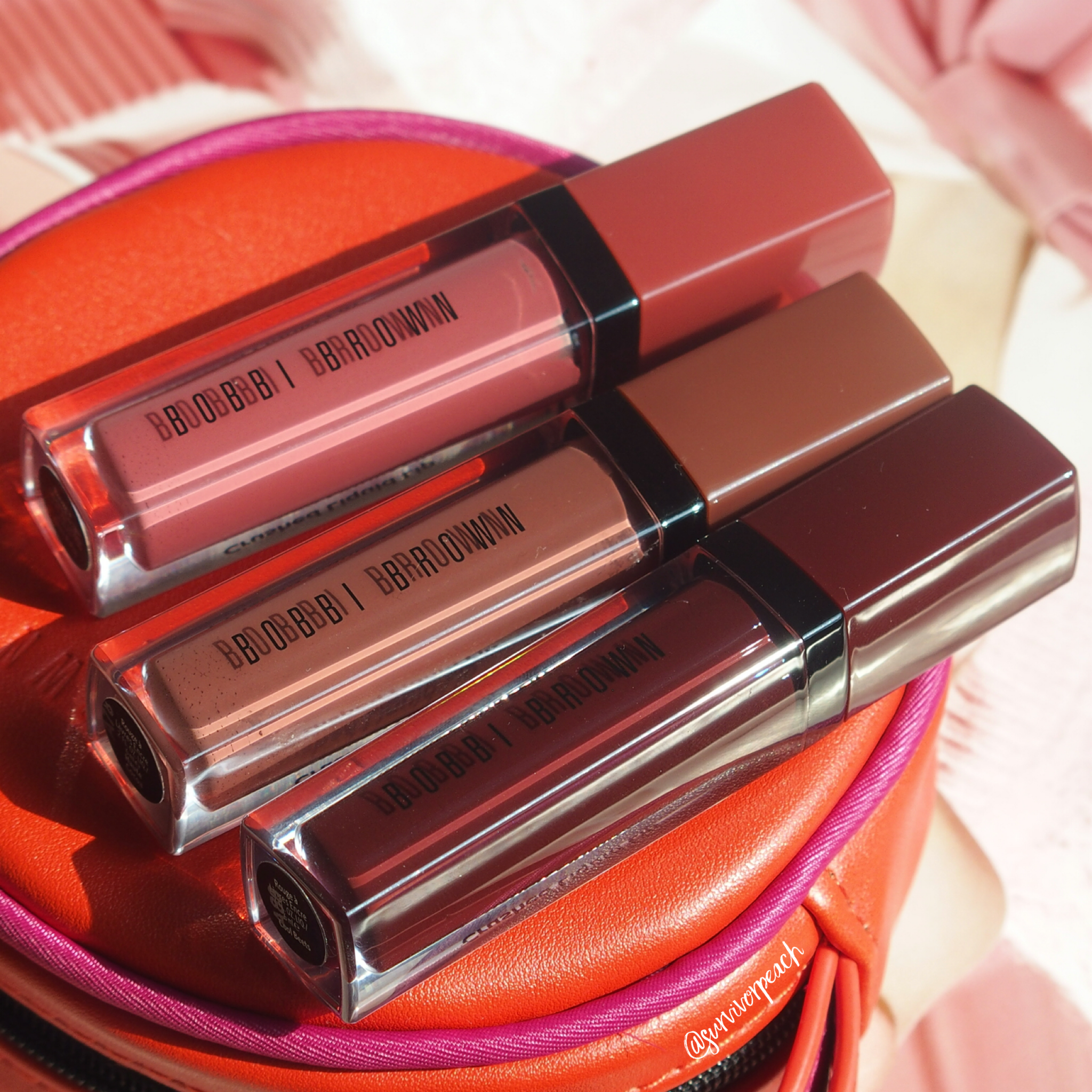 Bobbi Brown Crushed Liquid Lip in shades Give a Fig, Haute Cocoa, Cool Beats