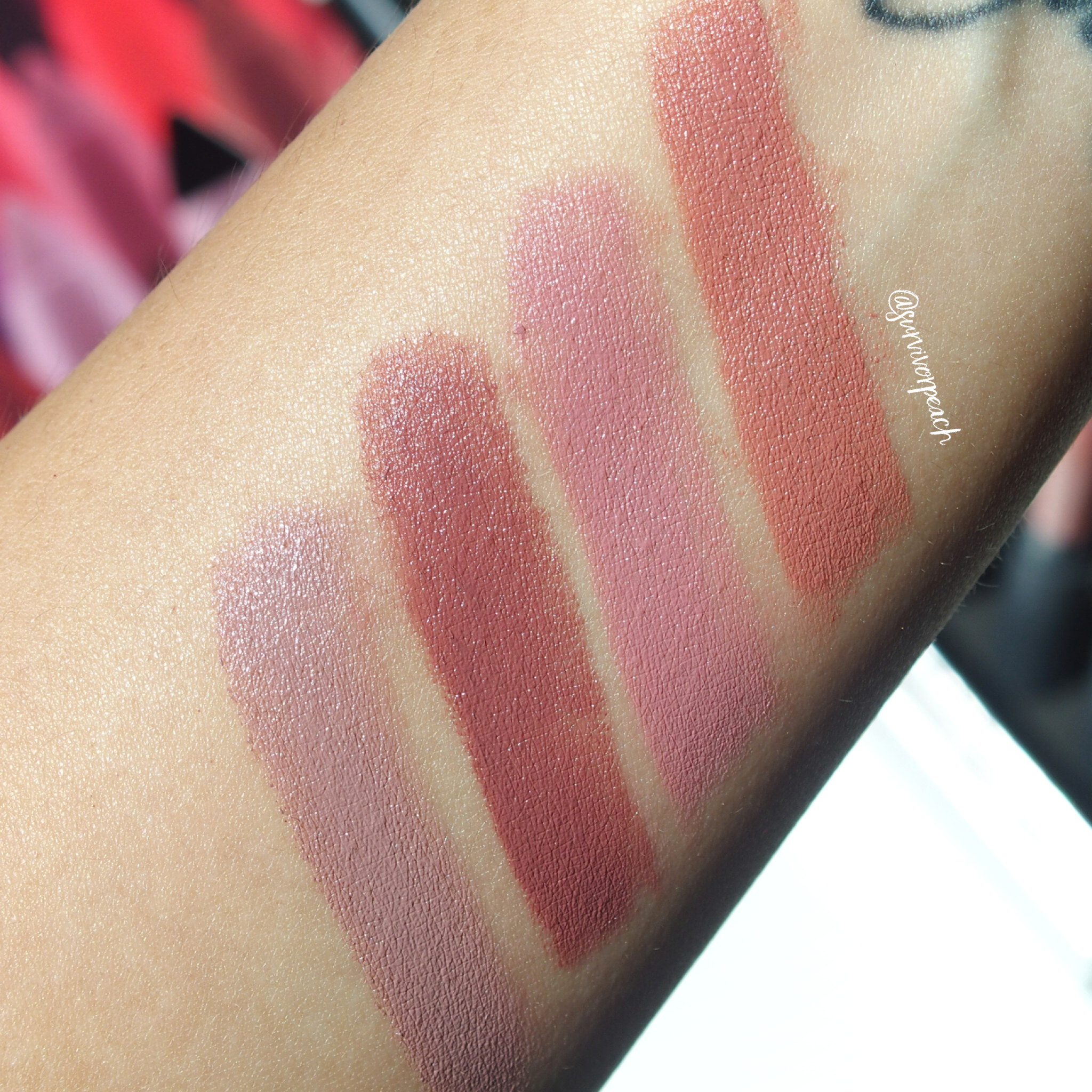Swatches of the Bite Beauty Matte Creme Lip Crayon in shades Leche, Sugarcane, Glace, Cava