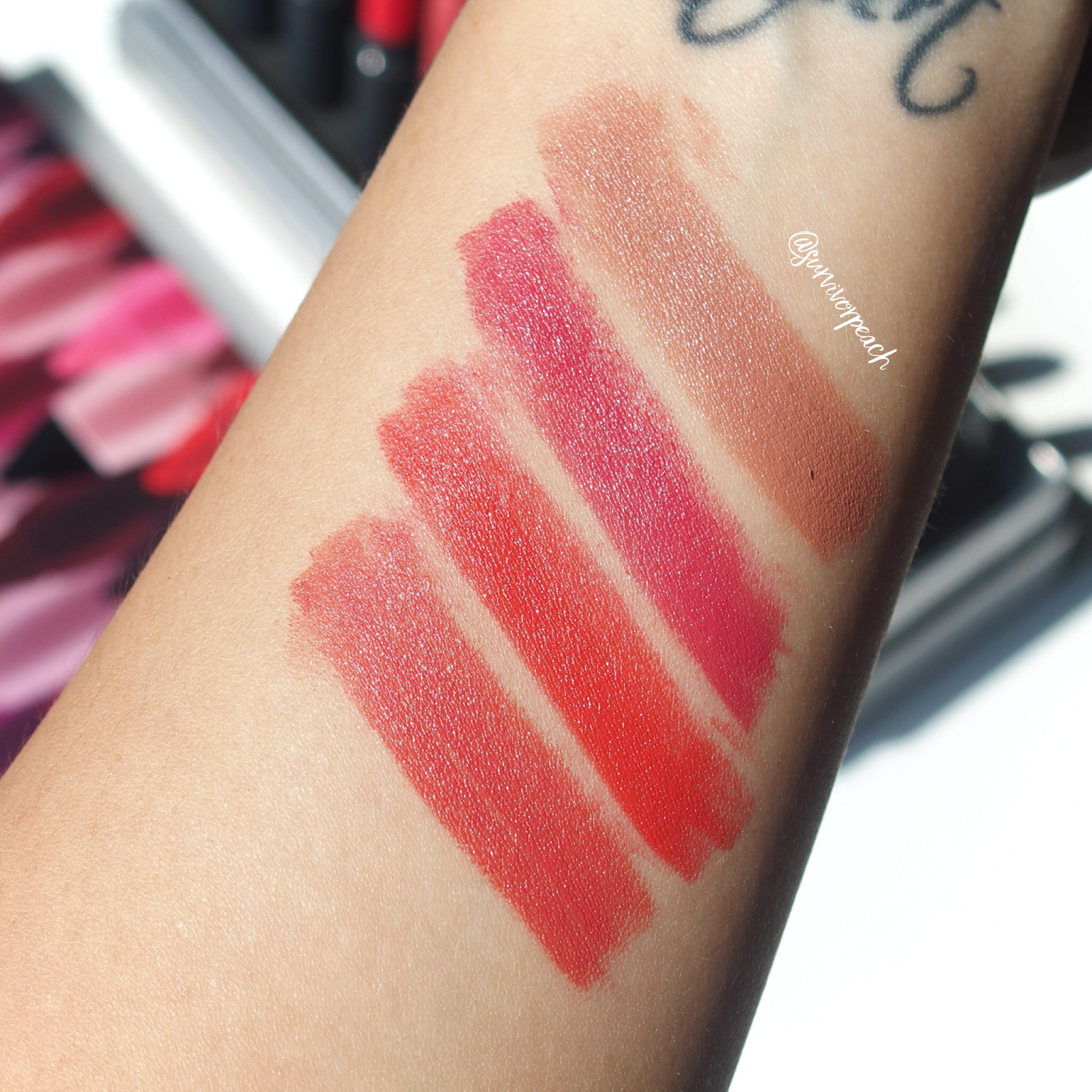 Swatches of the Bite Beauty Matte Creme Lip Crayon in shades Amaretto, Sucre, Blood Orange, Peche