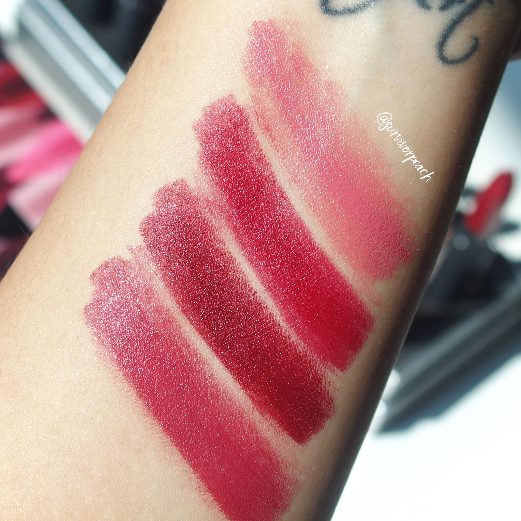 Swatches of the Bite Beauty Matte Creme Lip Crayon in shades Tatin, Red Velvet, Liquorice, Brandy
