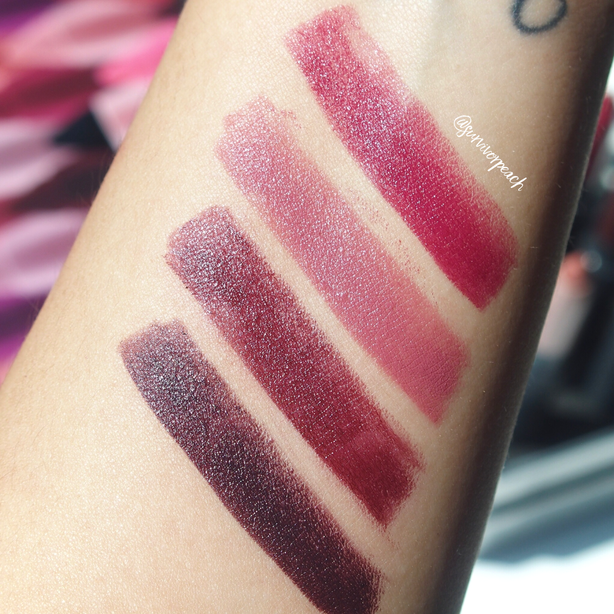 Swatches of the Bite Beauty Matte Creme Lip Crayon in shades Aubergine, Pastille, Truffle, Black Truffle