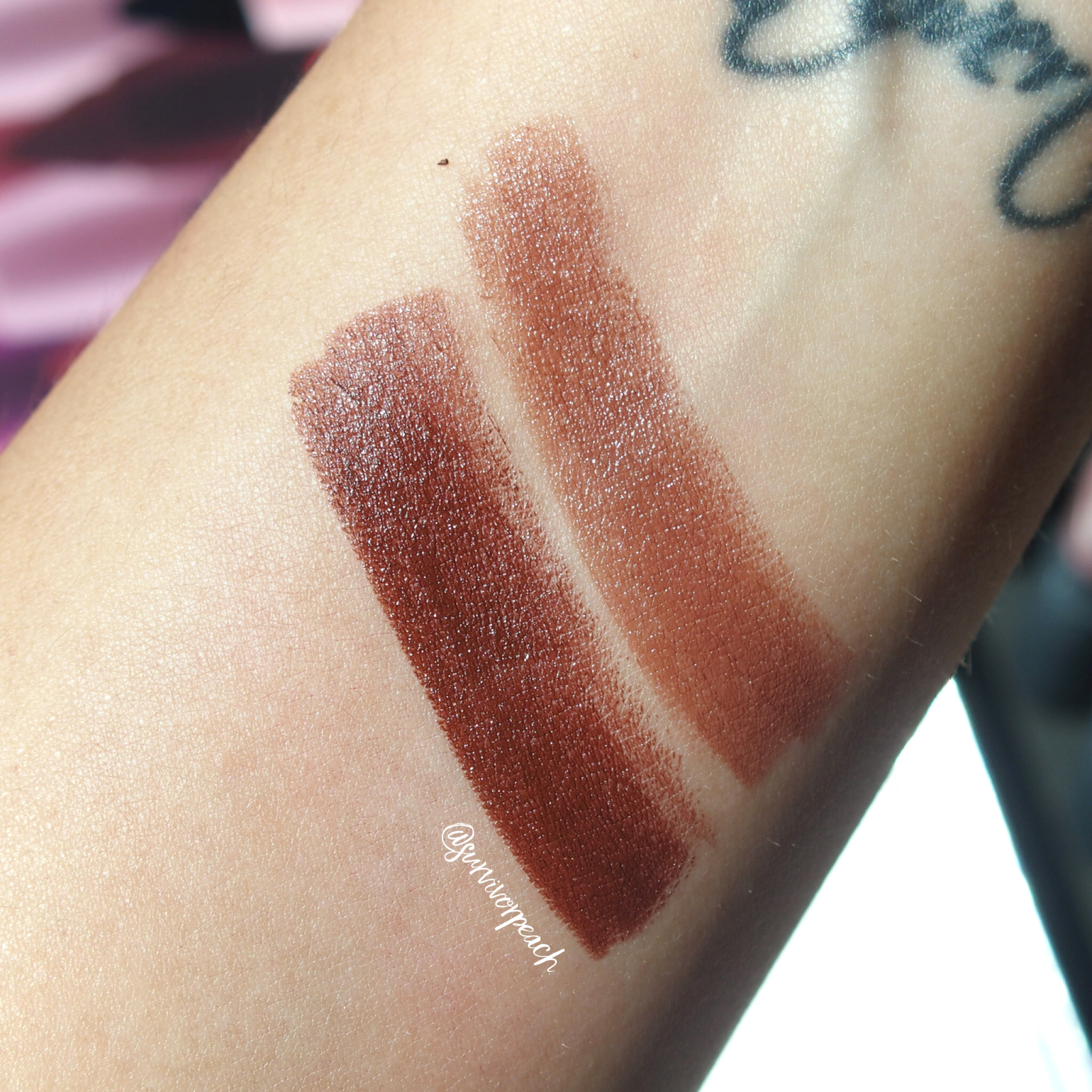 Swatches of the Bite Beauty Matte Creme Lip Crayon in shades Molasses, Cognac