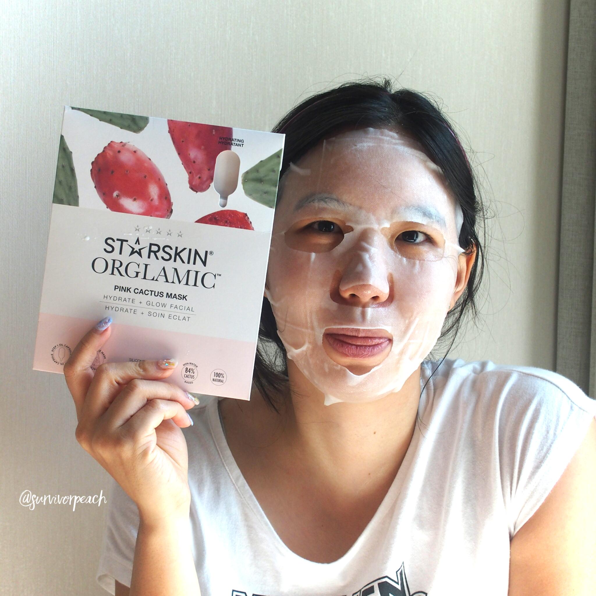 Me wearing the Starskin Orglamic Pink Cactus Oil Mask