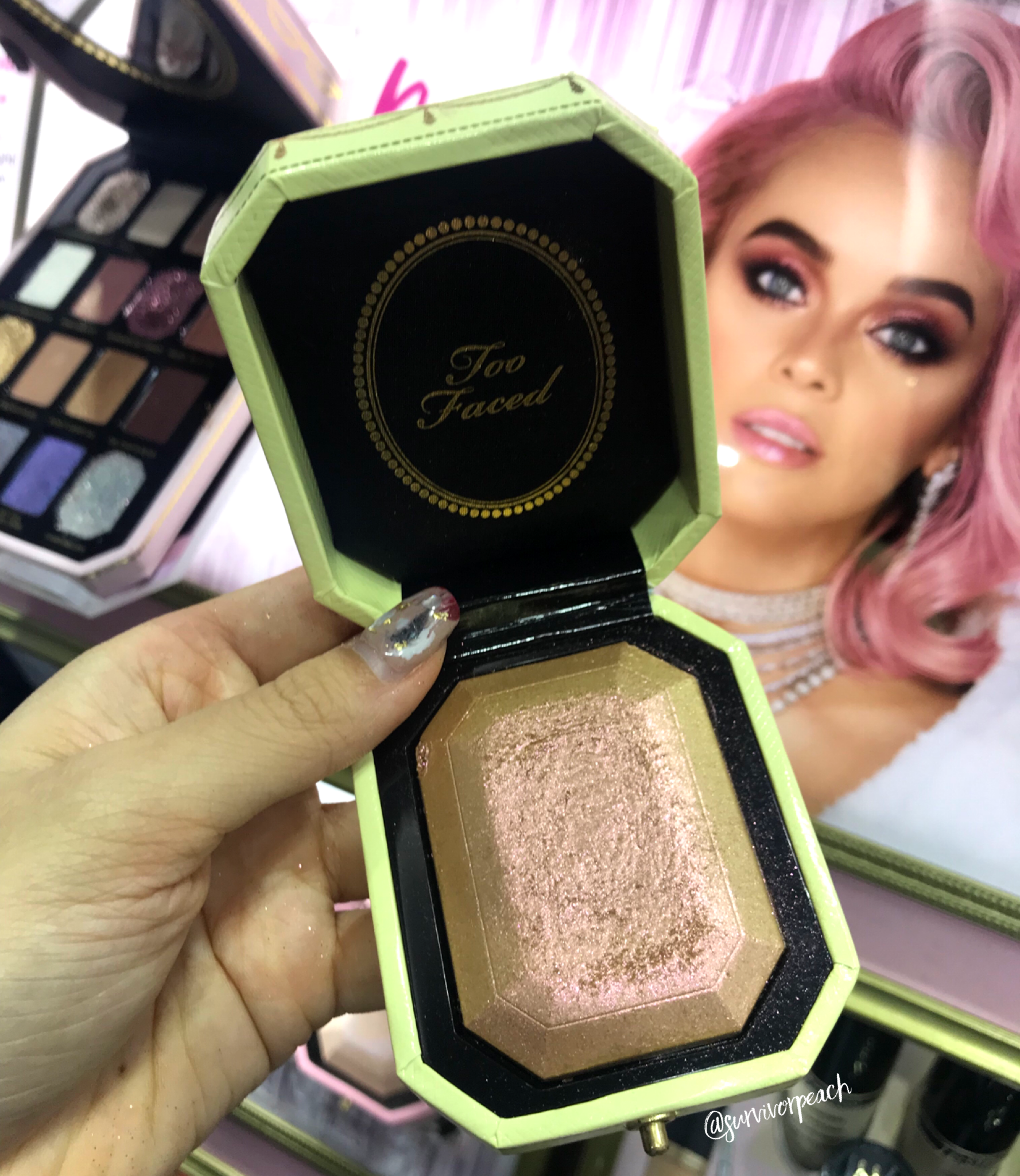Swatches of the Toofaced Diamond Highlighters - Canary Diamond Fire