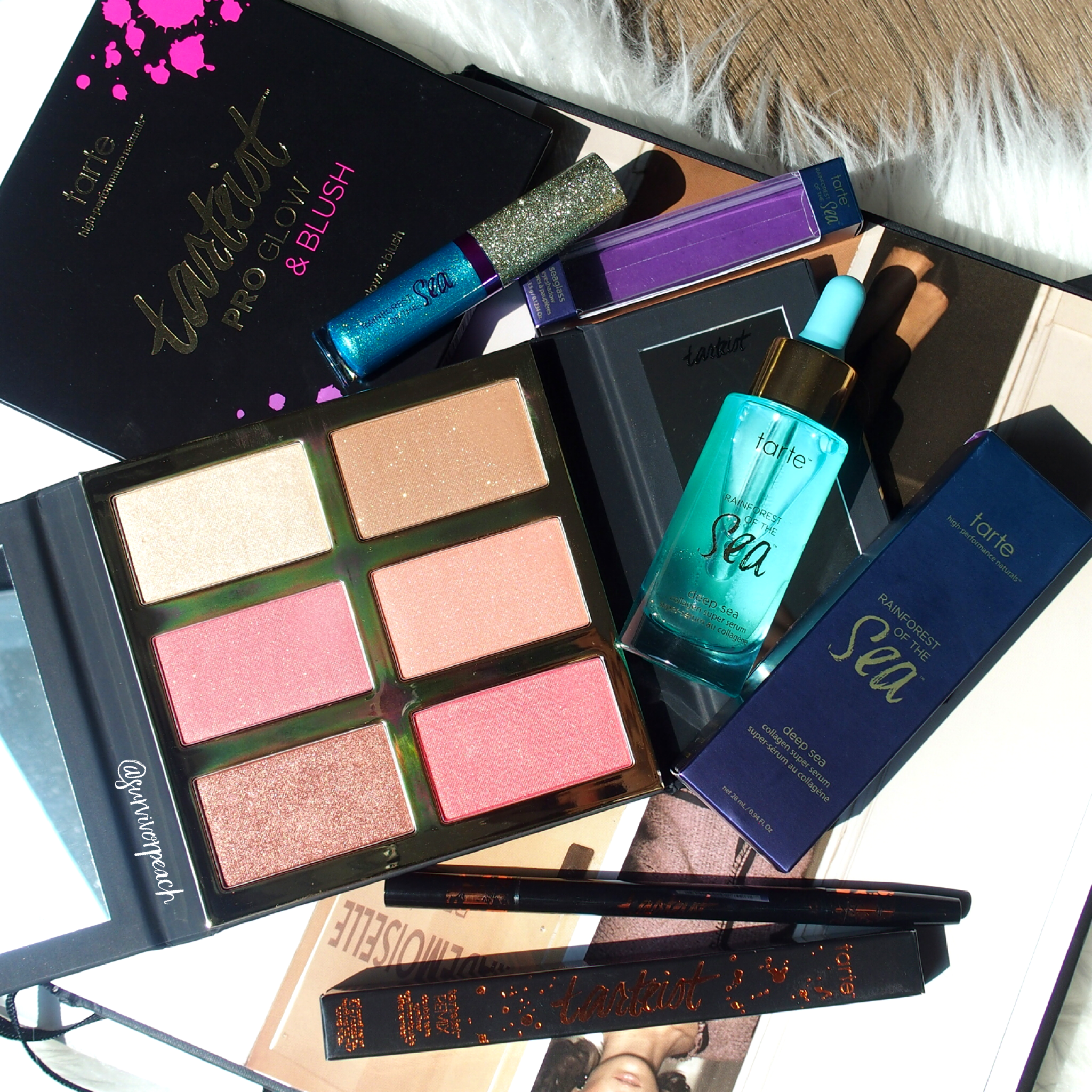 Tarte Rainforest of the Sea™ deep sea collagen super serum, Seaglass eyeshadow, tarteist™ PRO glow & blush
