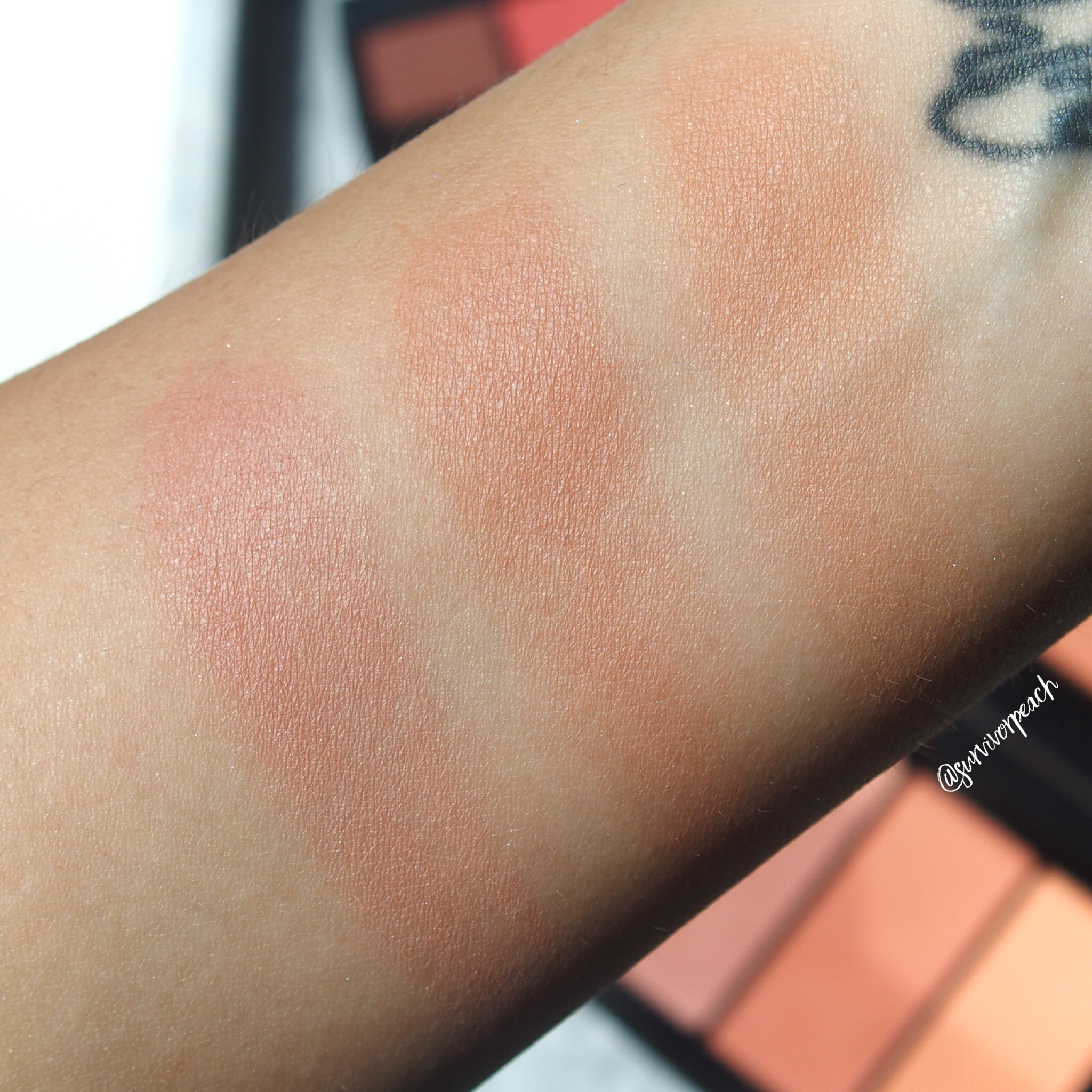 Swatches of the Anastasia Beverly Hills Blush Trio Peachy Love