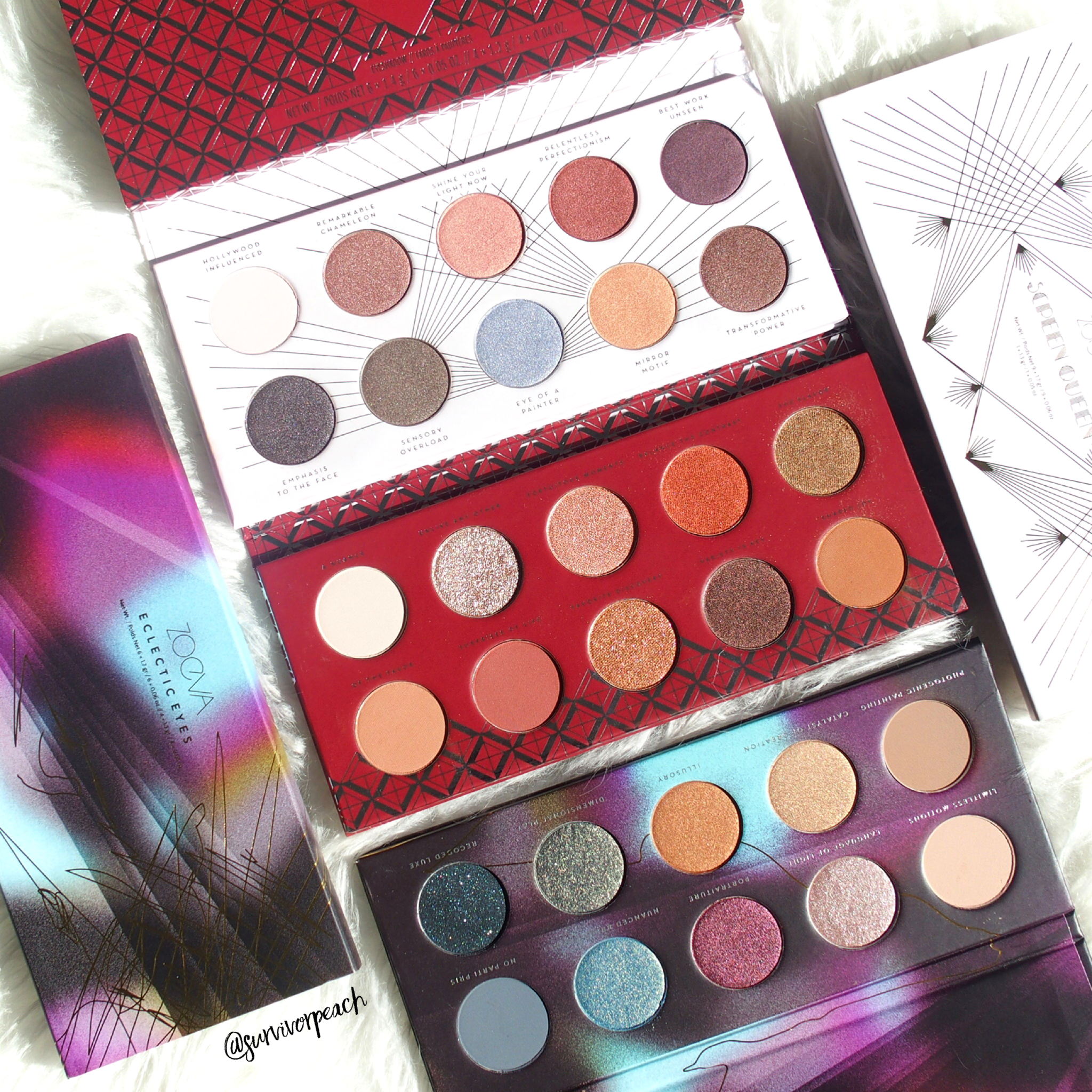 Zoeva Eyeshadow palettes : Screen Queen, Eclectric Eyes, Spice of Life