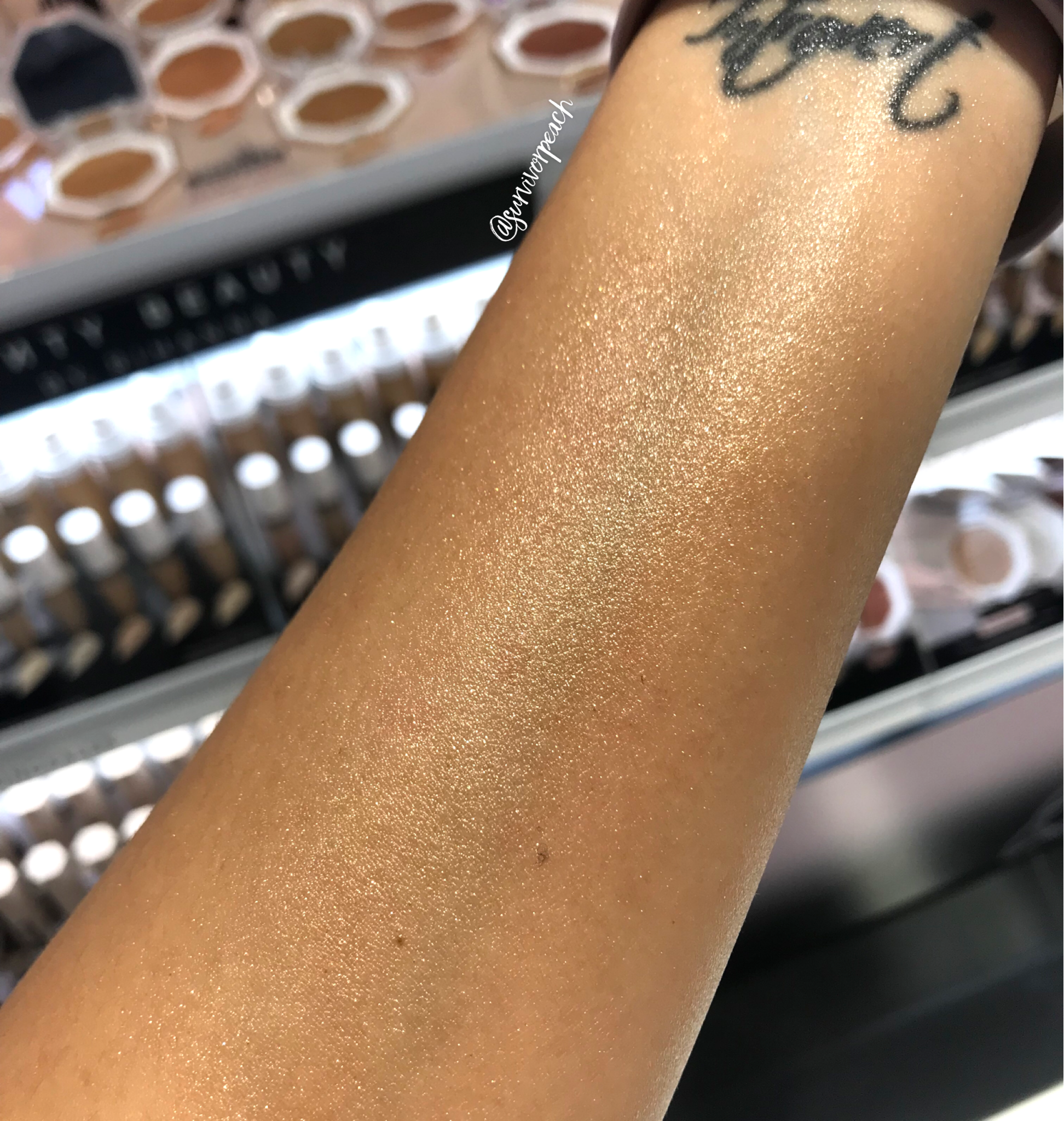 Swatches of the Fenty Beauty Body Lava - Brown Sugar (Bronze)