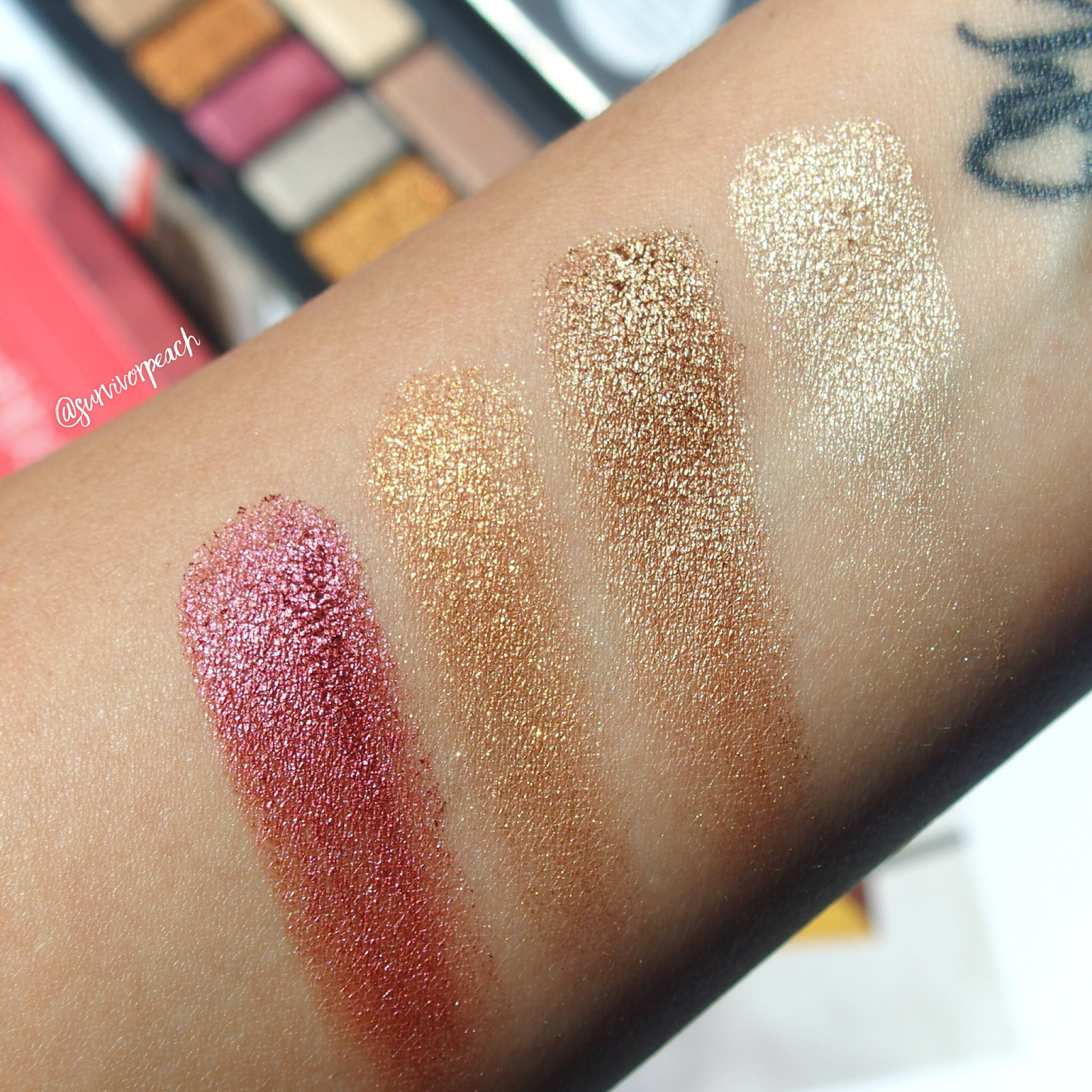 Swatches of the Smashbox Cover Shot Palette - Major Metals