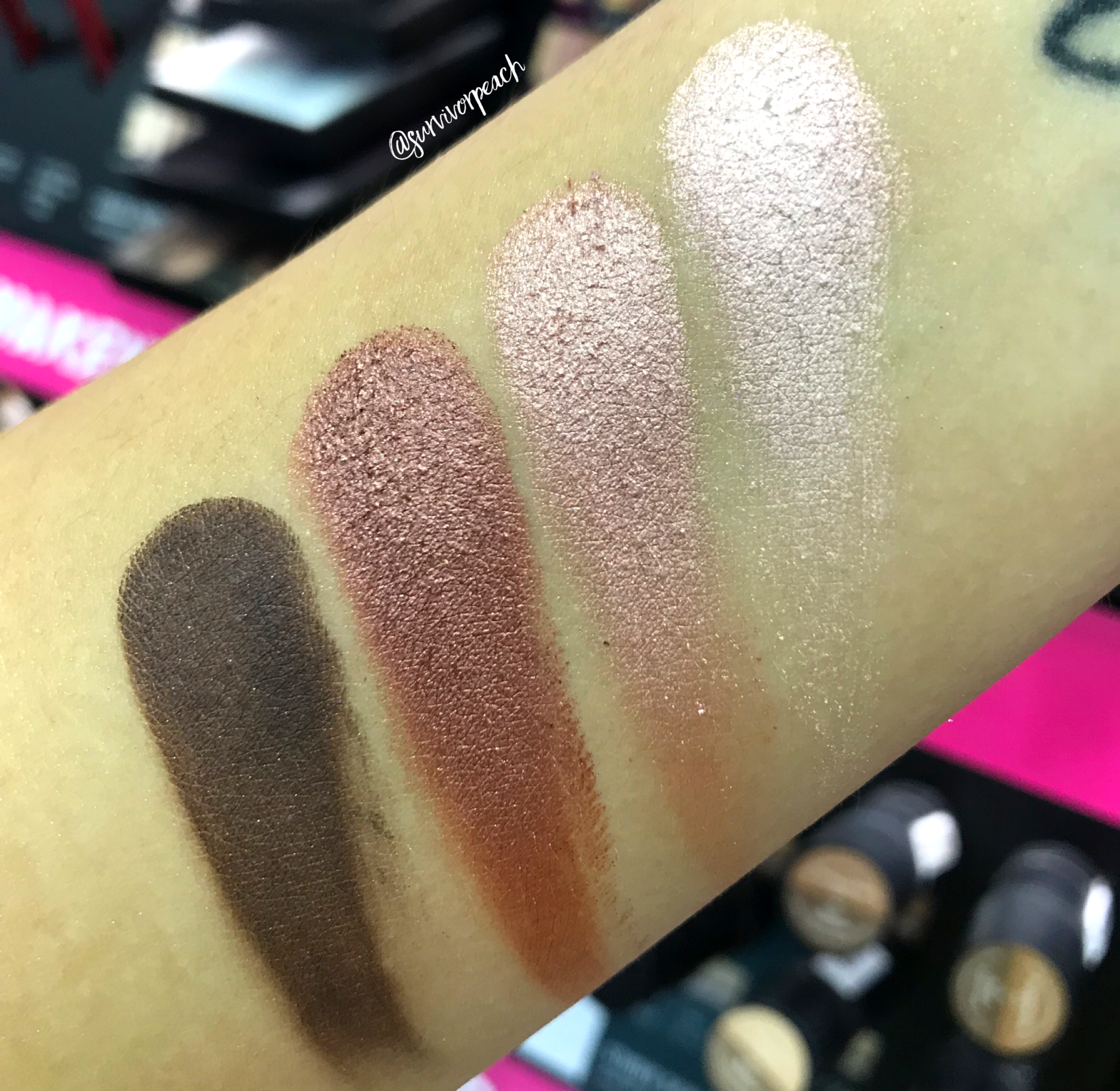 Swatches of the Smashbox Covershot Eyeshadow palette - Petal Metal