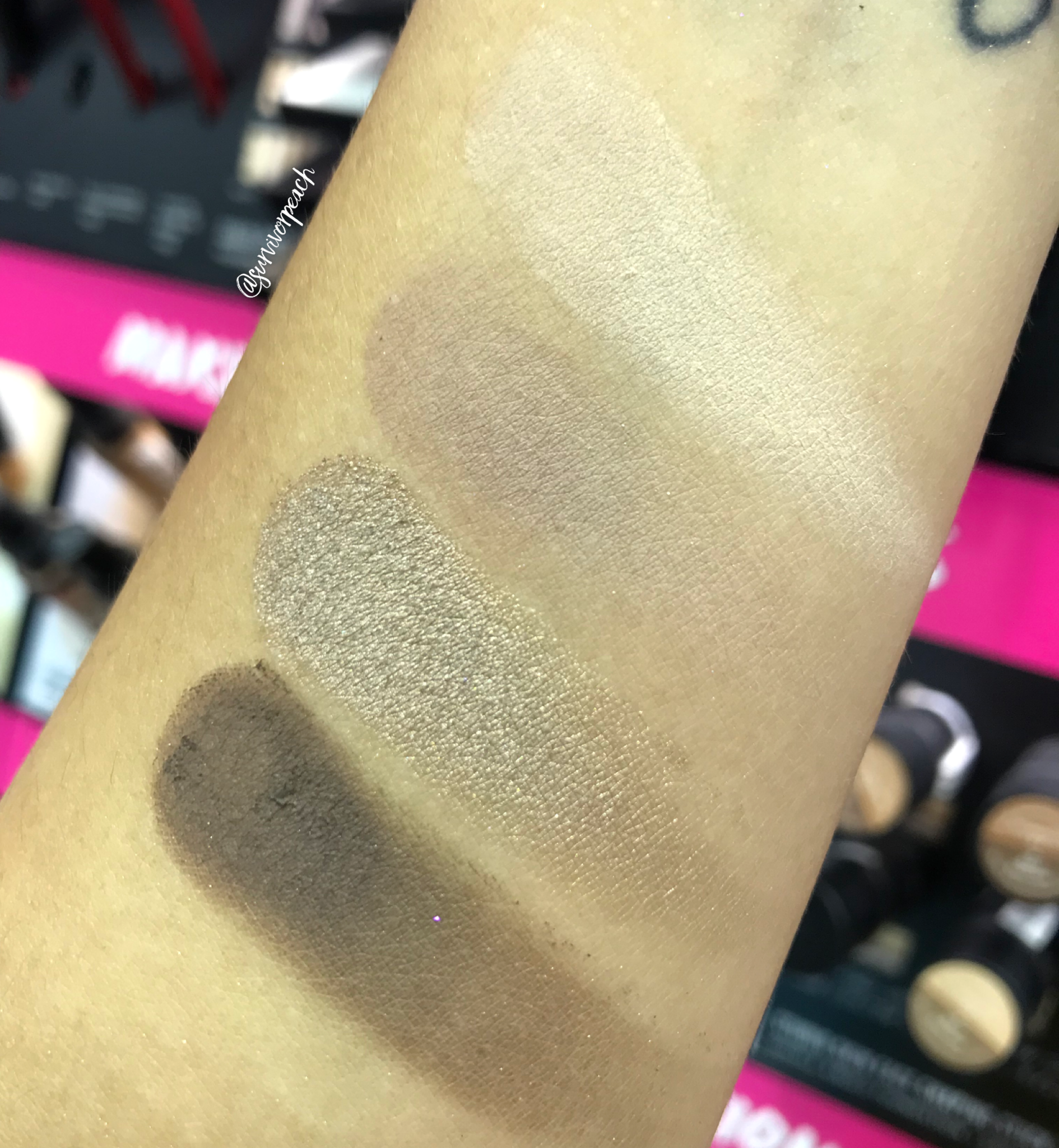 Swatches of the Smashbox Covershot Eyeshadow palette - The Minimalist