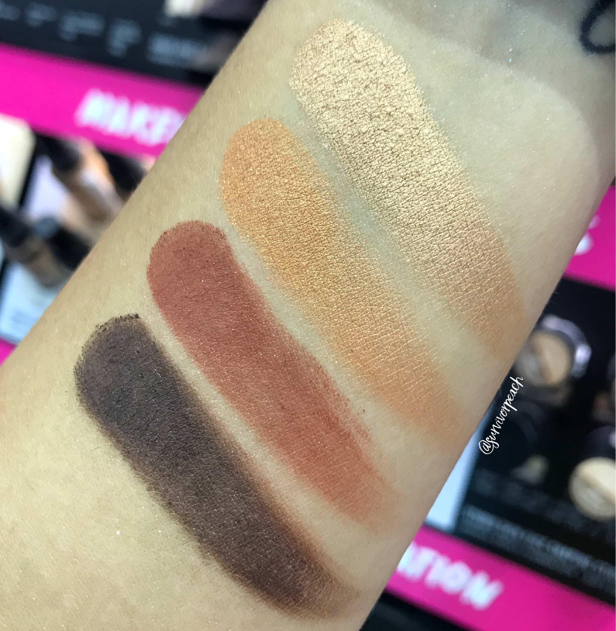 Swatches of the Smashbox Covershot Eyeshadow palette - Ablaze