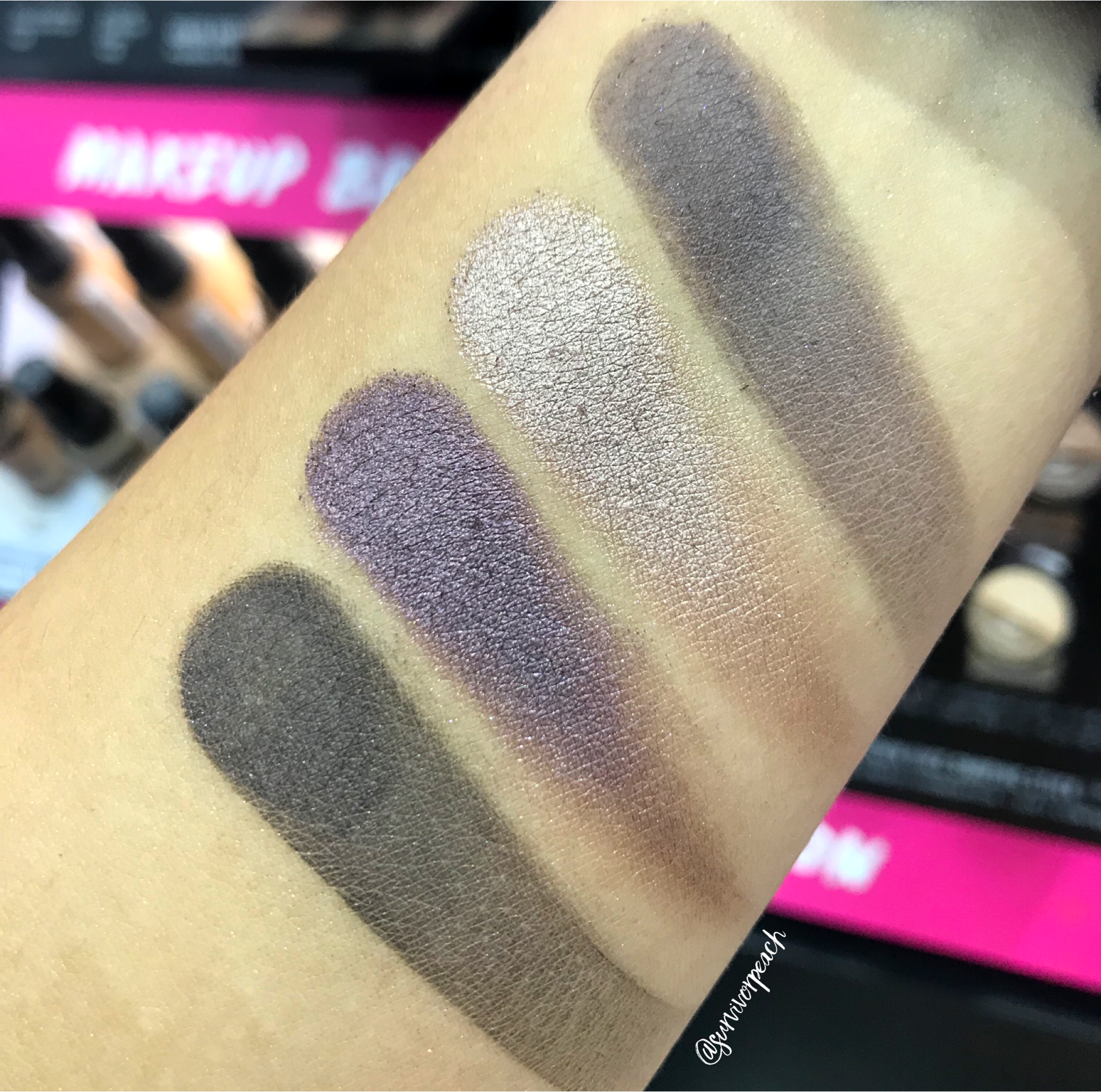 Swatches of the Smashbox Covershot palette: Punked