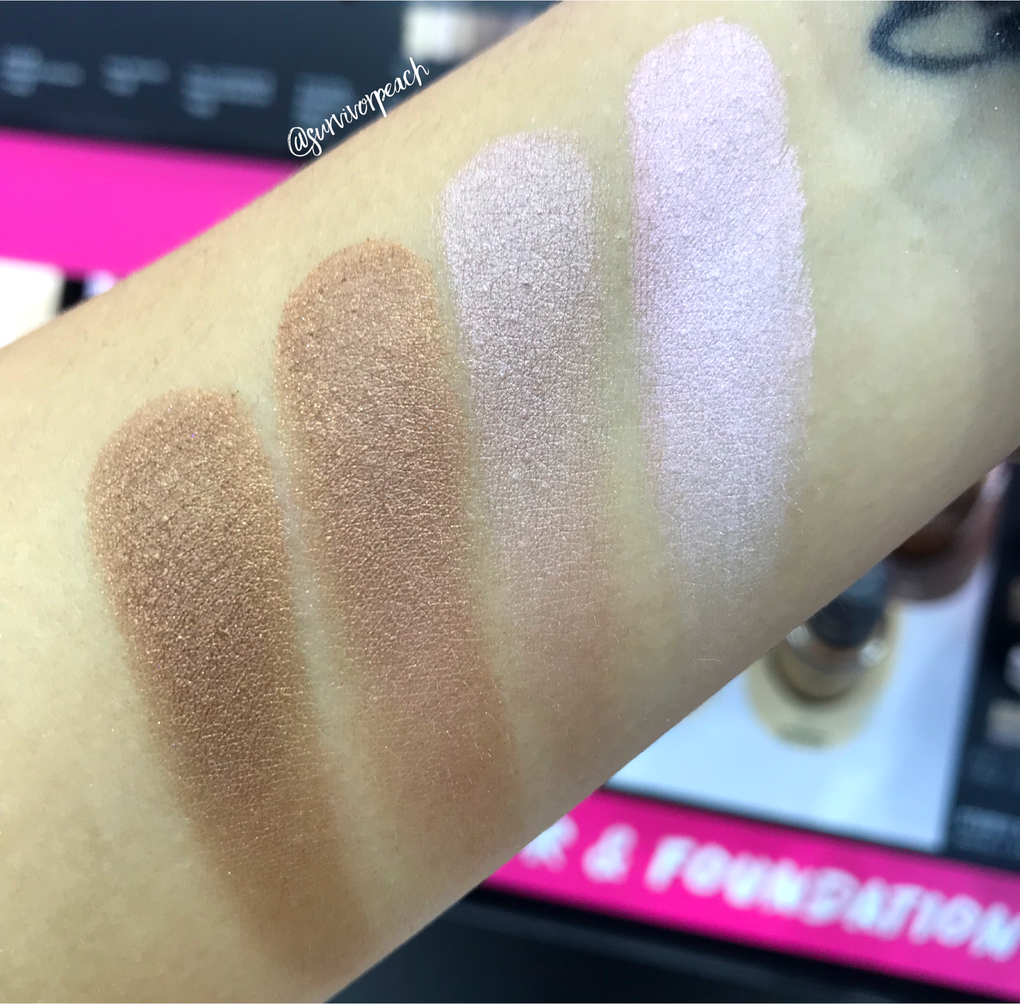 Swatches of the Smashbox Covershot palette: Softlight