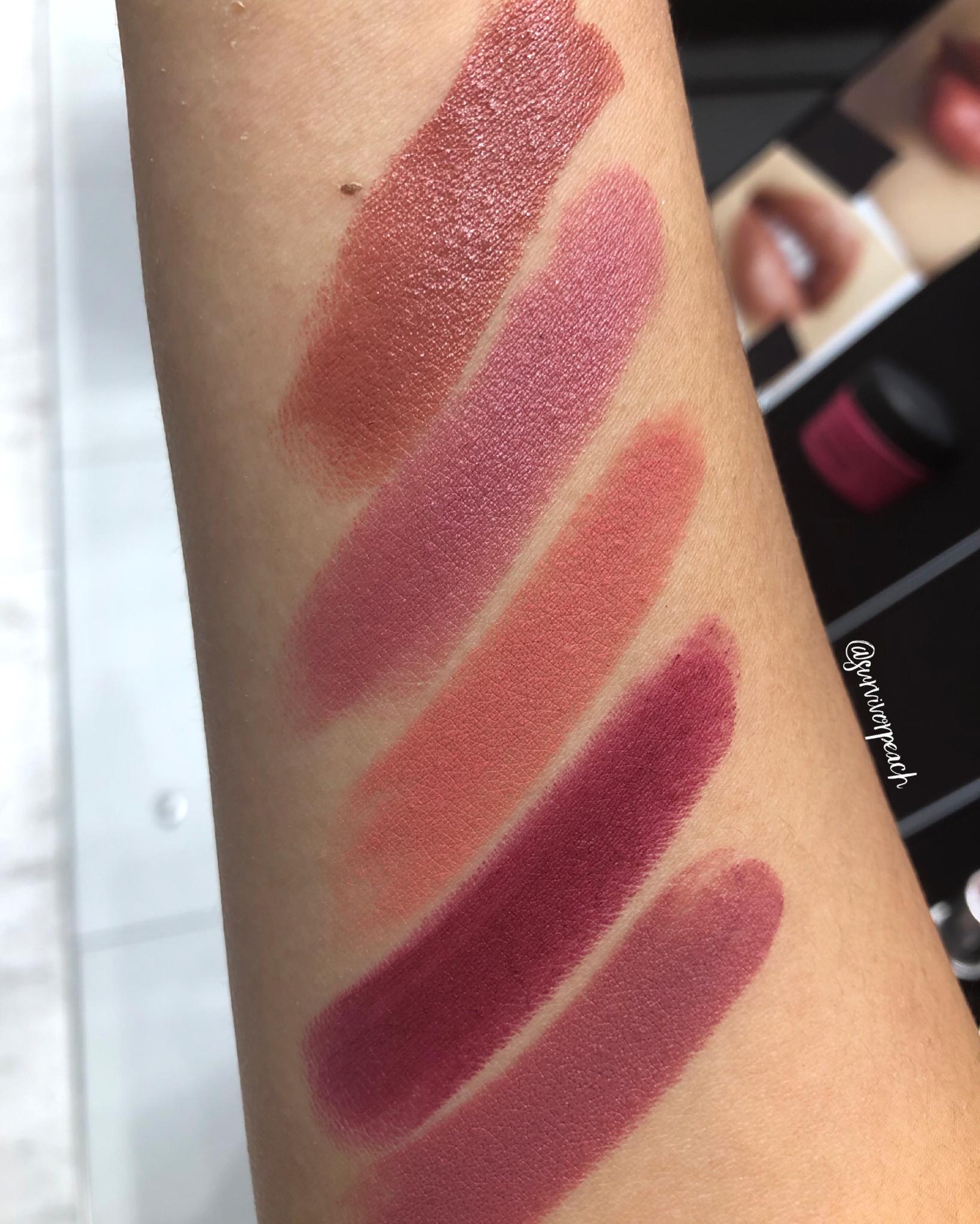 Mac Naturally You Lipstick swatches - Runway Hit, Brave, Smoked Almond, Mehr, Burning Love