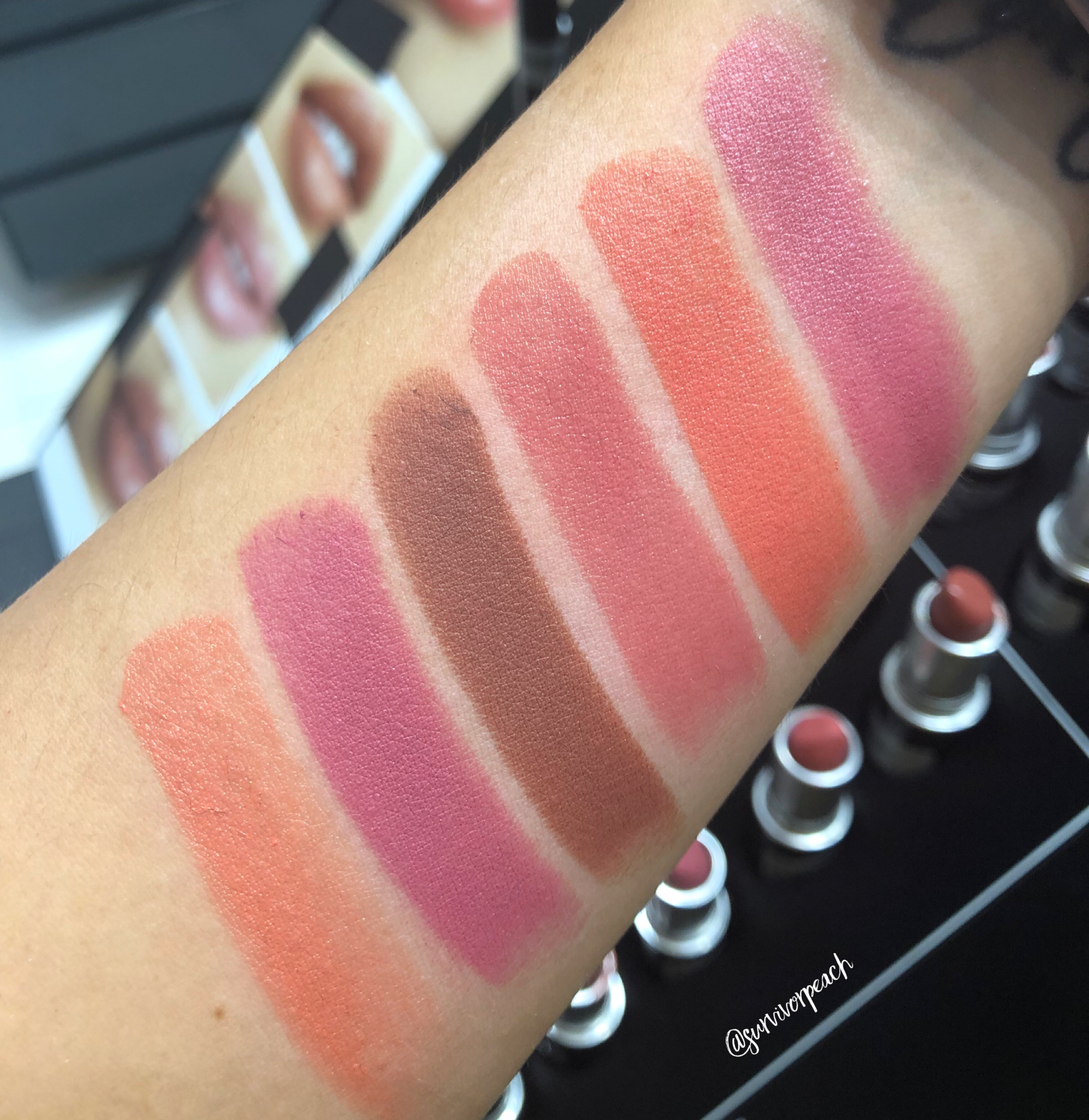 Mac Naturally You Lipstick swatches - Brave, Peachy New Year, Fanfare, Whirl, You Wouldn't Get It, Ravishing.