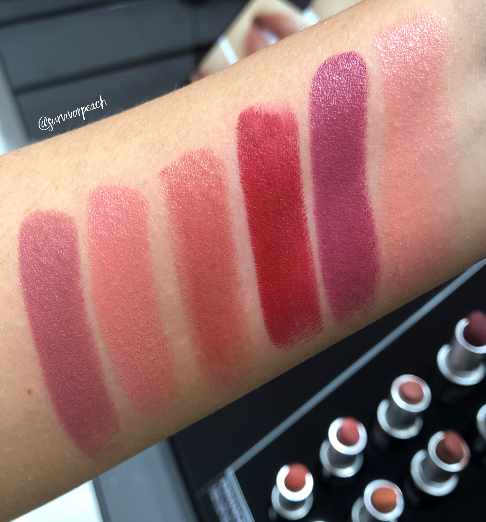 Mac Naturally You Lipstick swatches - Flamingo, Captive, Russian Red, Twig, Spotlight Me, On Hold.