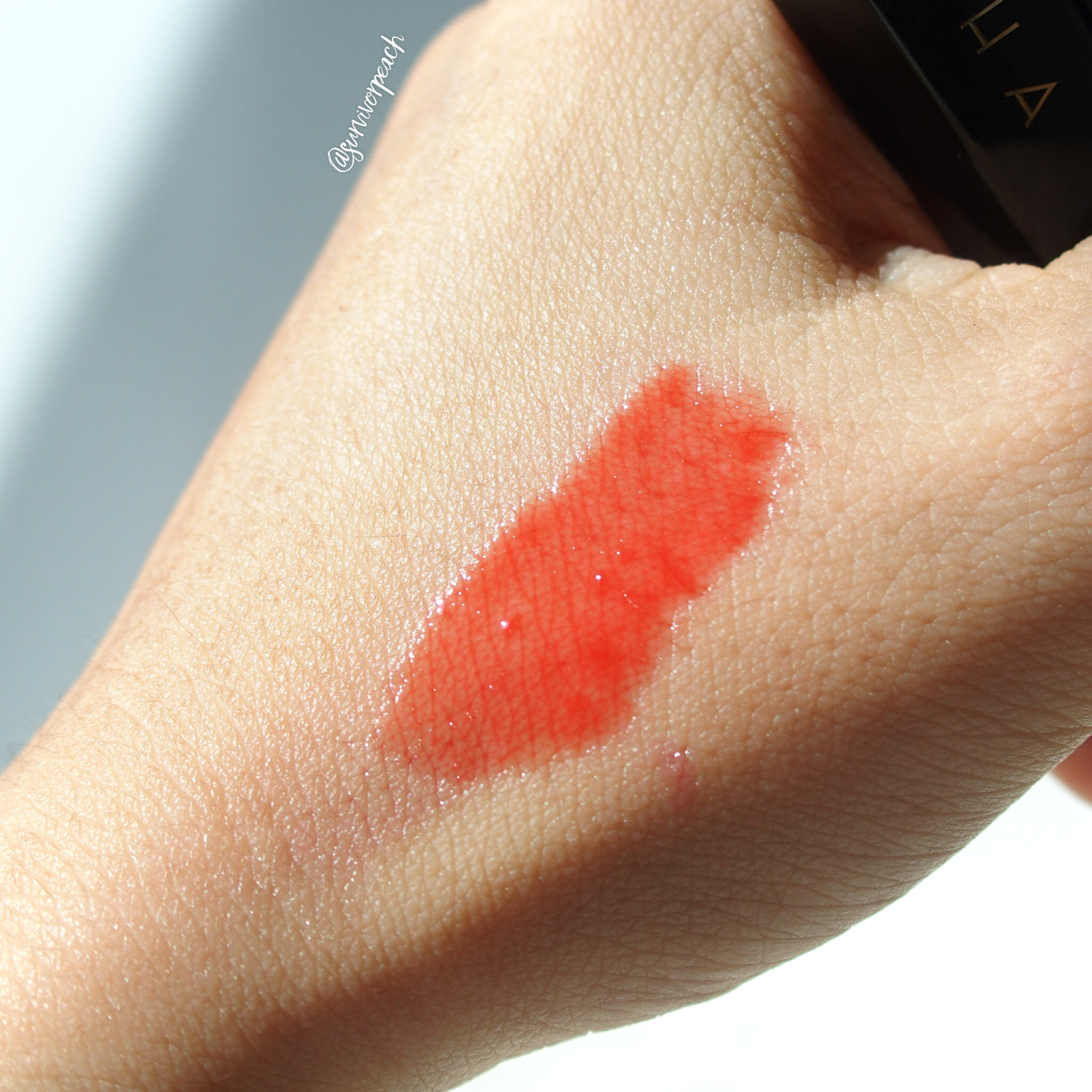 Tatcha Tokyo Red Tinted Lip Oil swatches