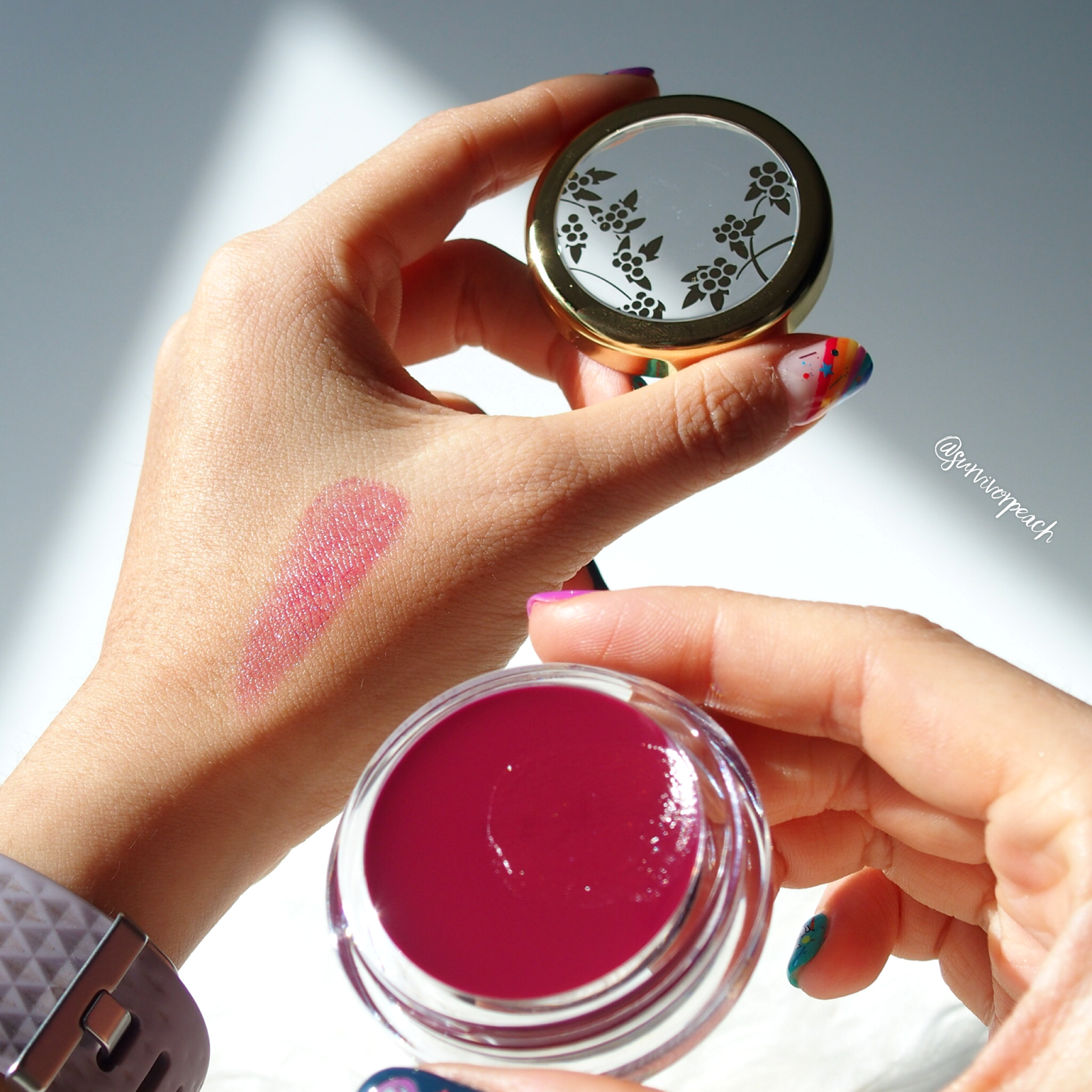Beautyberry Camellia Lip Balm swatches