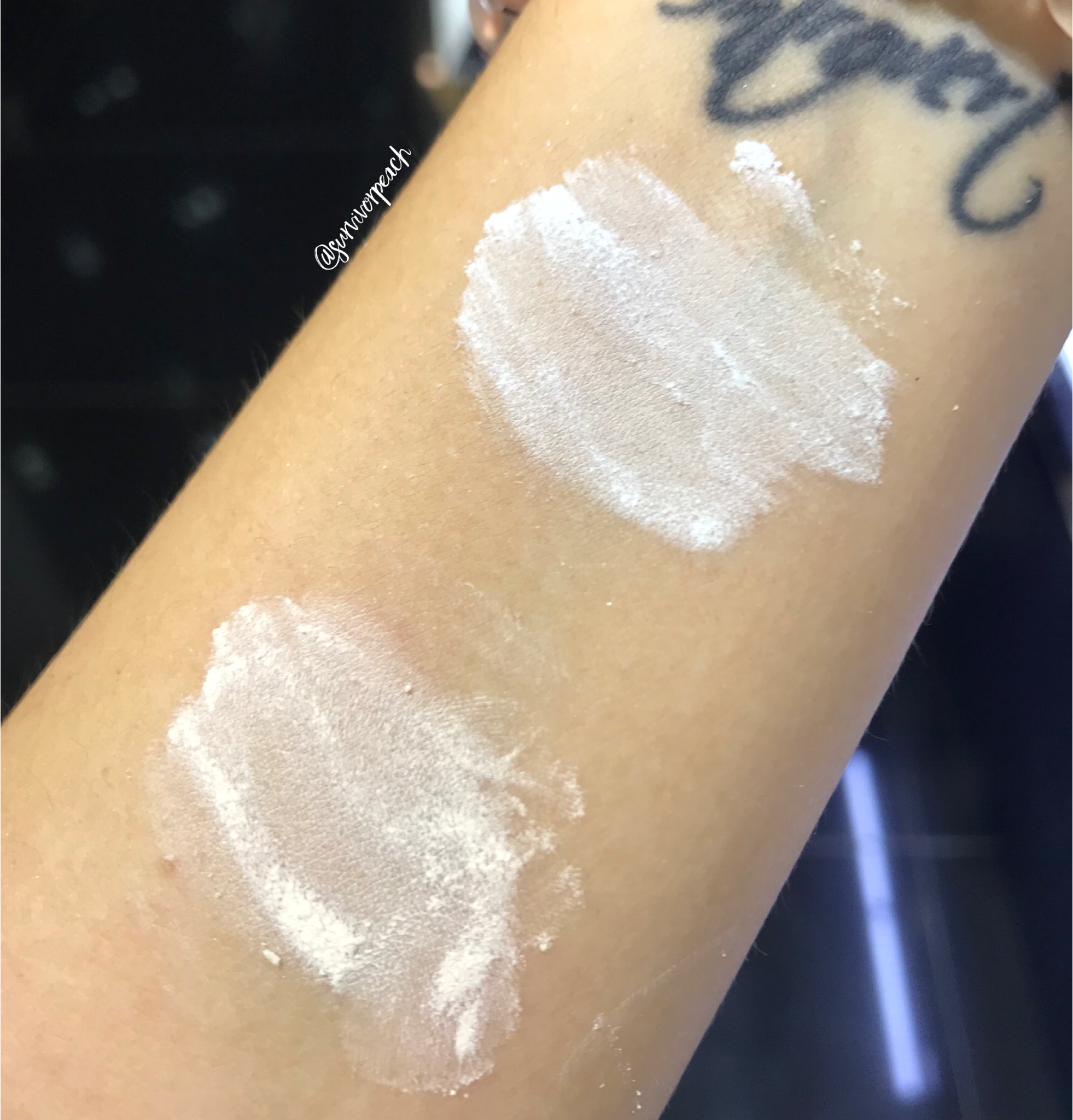 Huda Beauty Easy Bake Powder swatches - Sugar Cookie and Cupcake