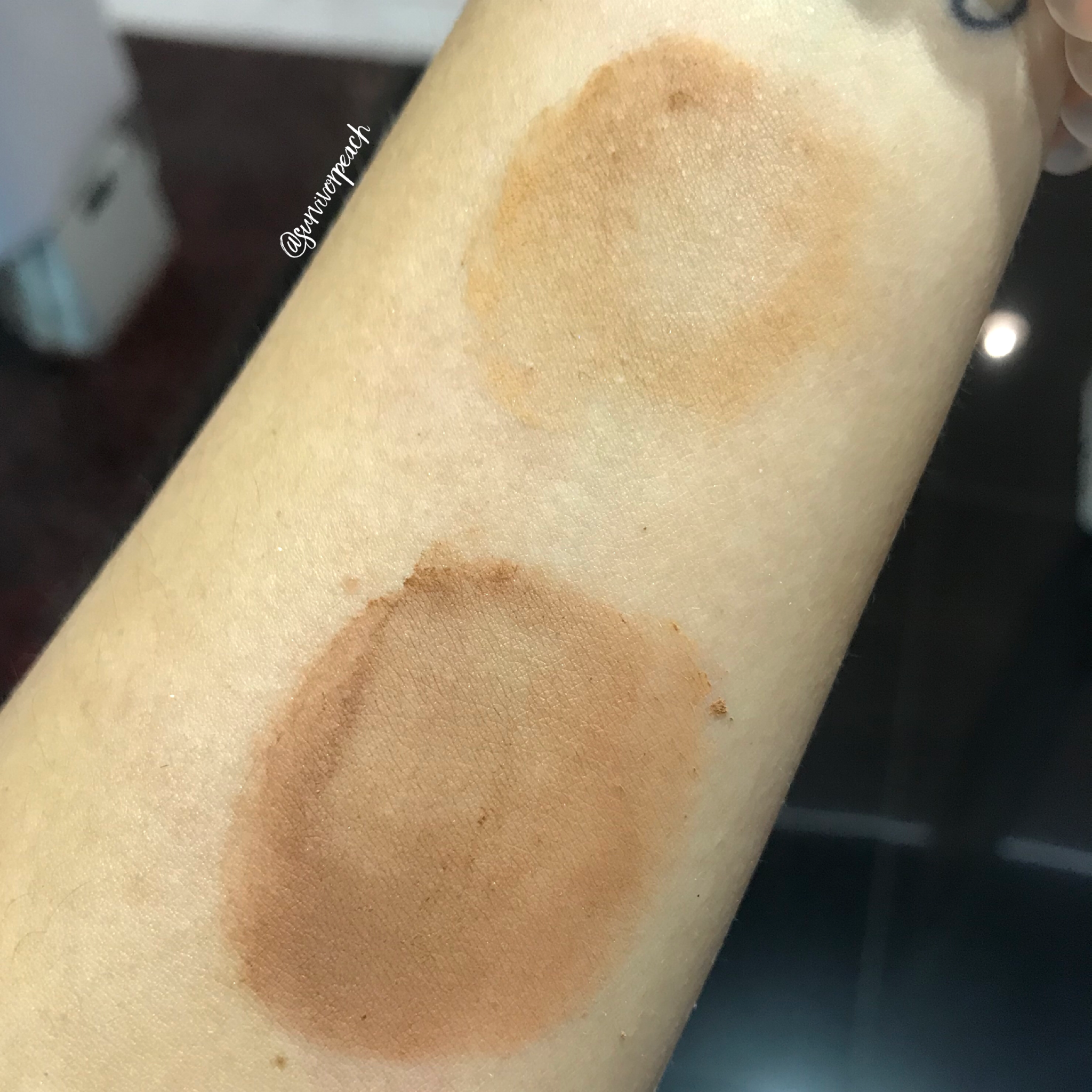 Huda Beauty Easy Bake Powder swatches - Cinnamon Bun and Coffee Cake