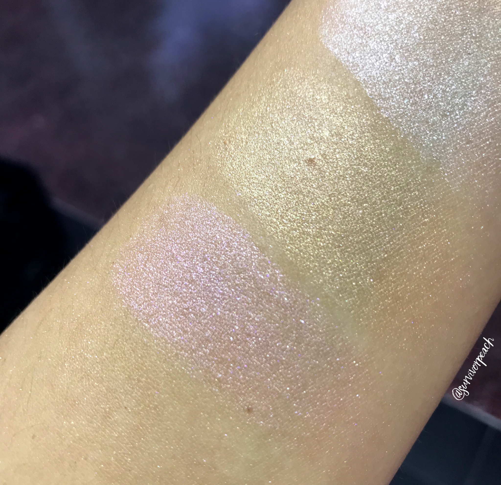 Stila Heavenly Hue Highlighter swatches - Opulence, Brilliance, Luminescence