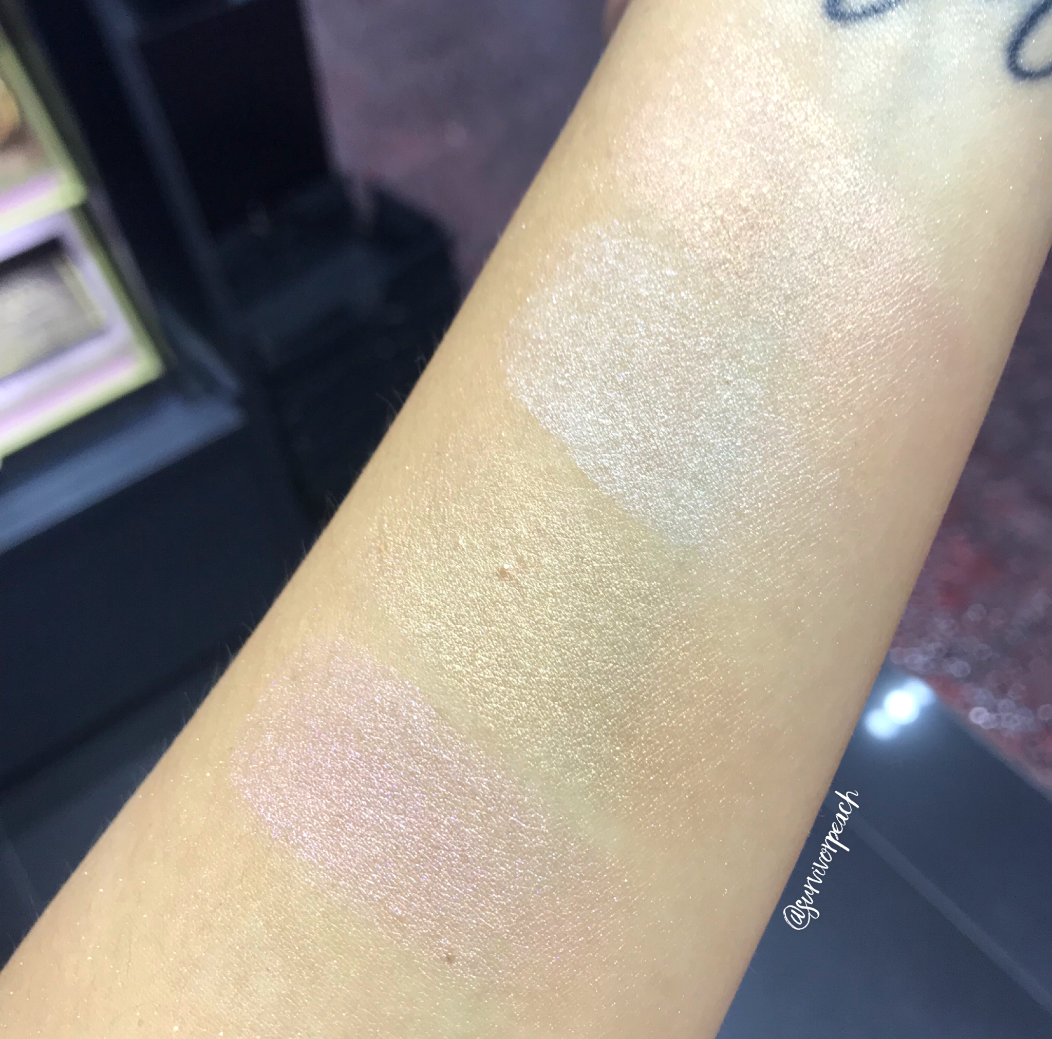 Stila Heavenly Hue Highlighter swatches - Incandescence, Opulence, Brilliance, Luminescence