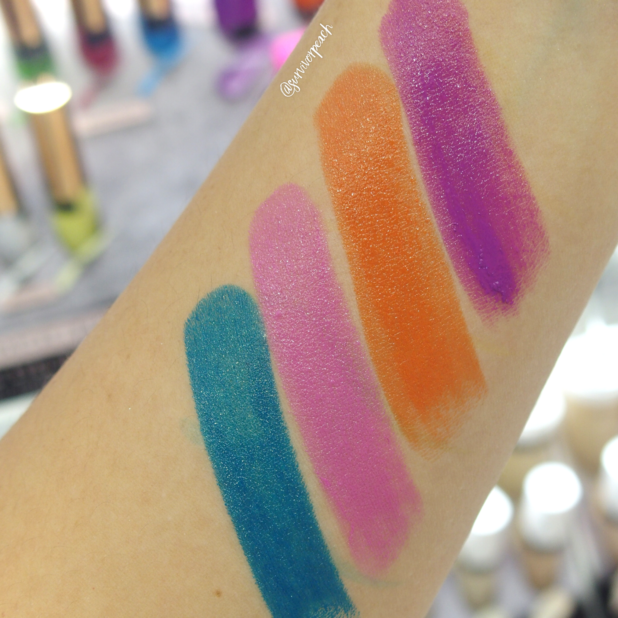 Swatches of the Fenty Beauty Poutisicle - Purpsicle, Sun Snatched, Alpha Doll, Go Deep