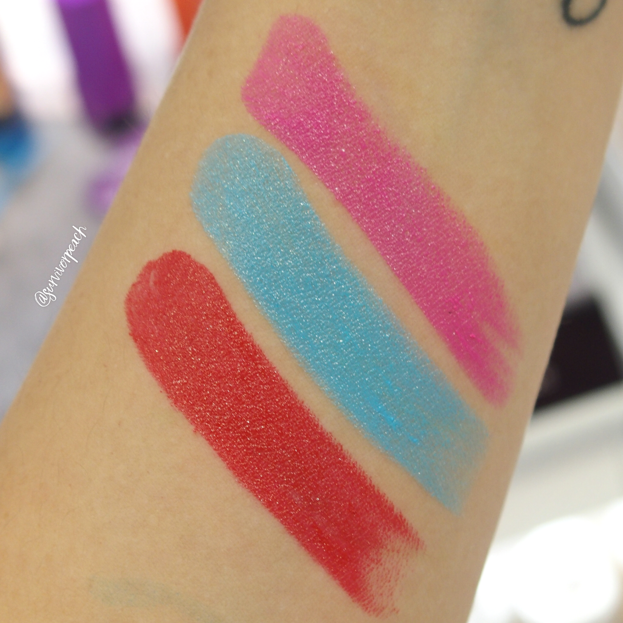 Swatches of the Fenty Beauty Poutisicle - Tropic Tantrum, Motorboat, Hot Blooded