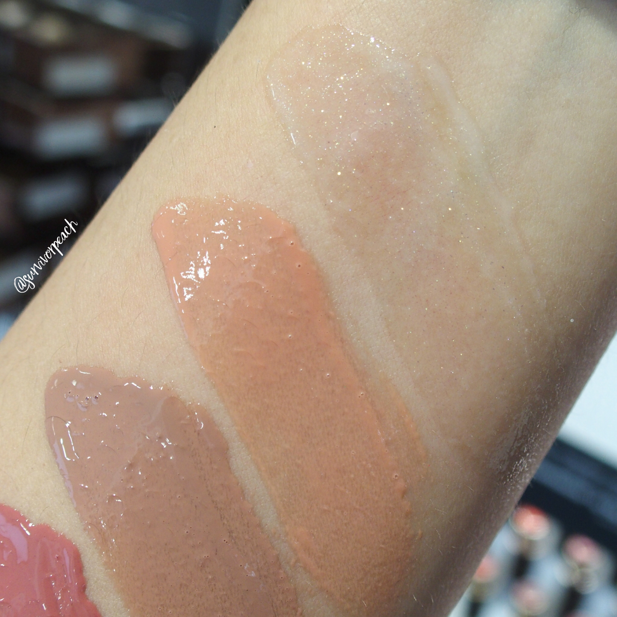 Swatches of the Hourglass Unreal High Shine Voluming Lipgloss: Halo, Child, Provoke