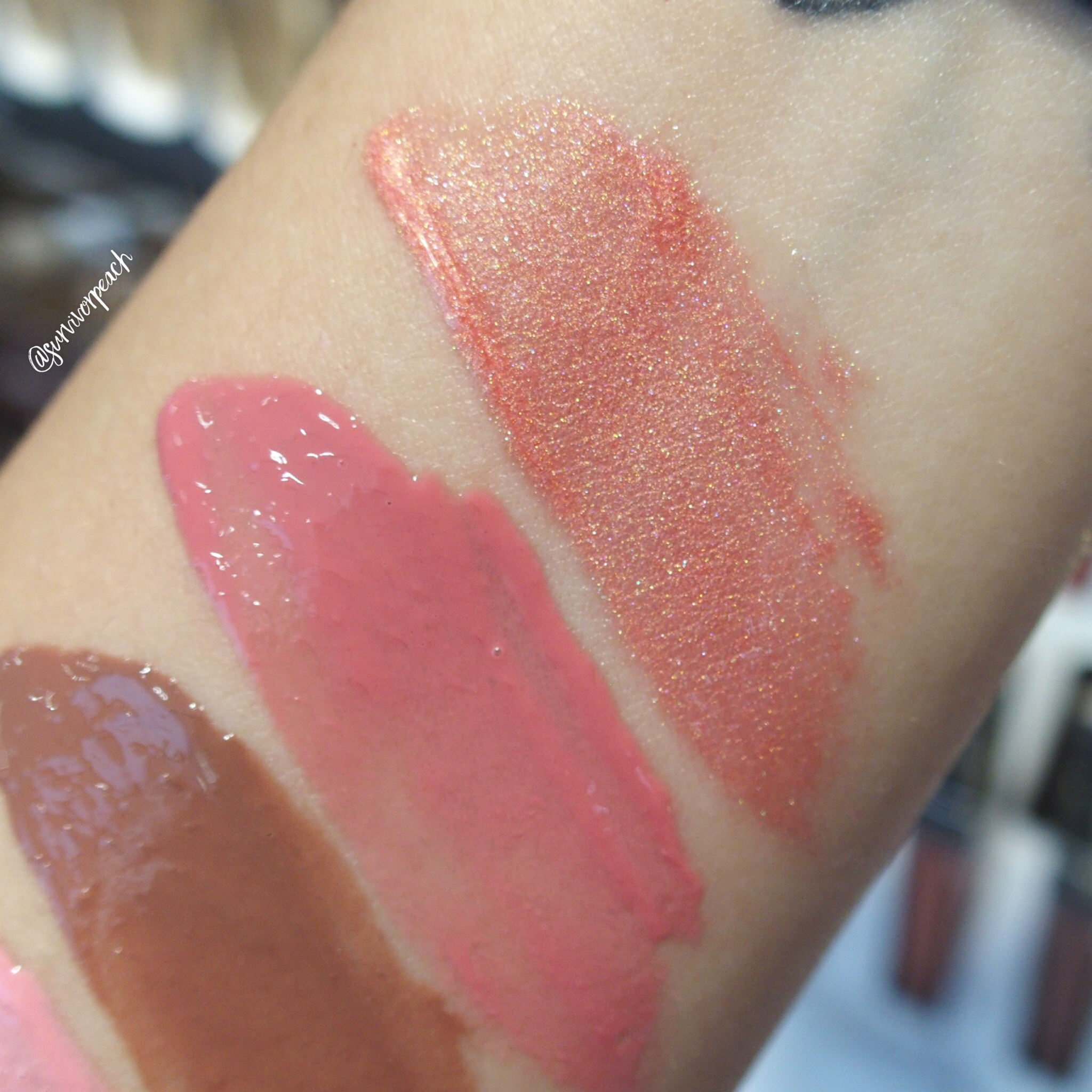 Swatches of the Hourglass Unreal High Shine Voluming Lipgloss: Solar, Prose, Dusk