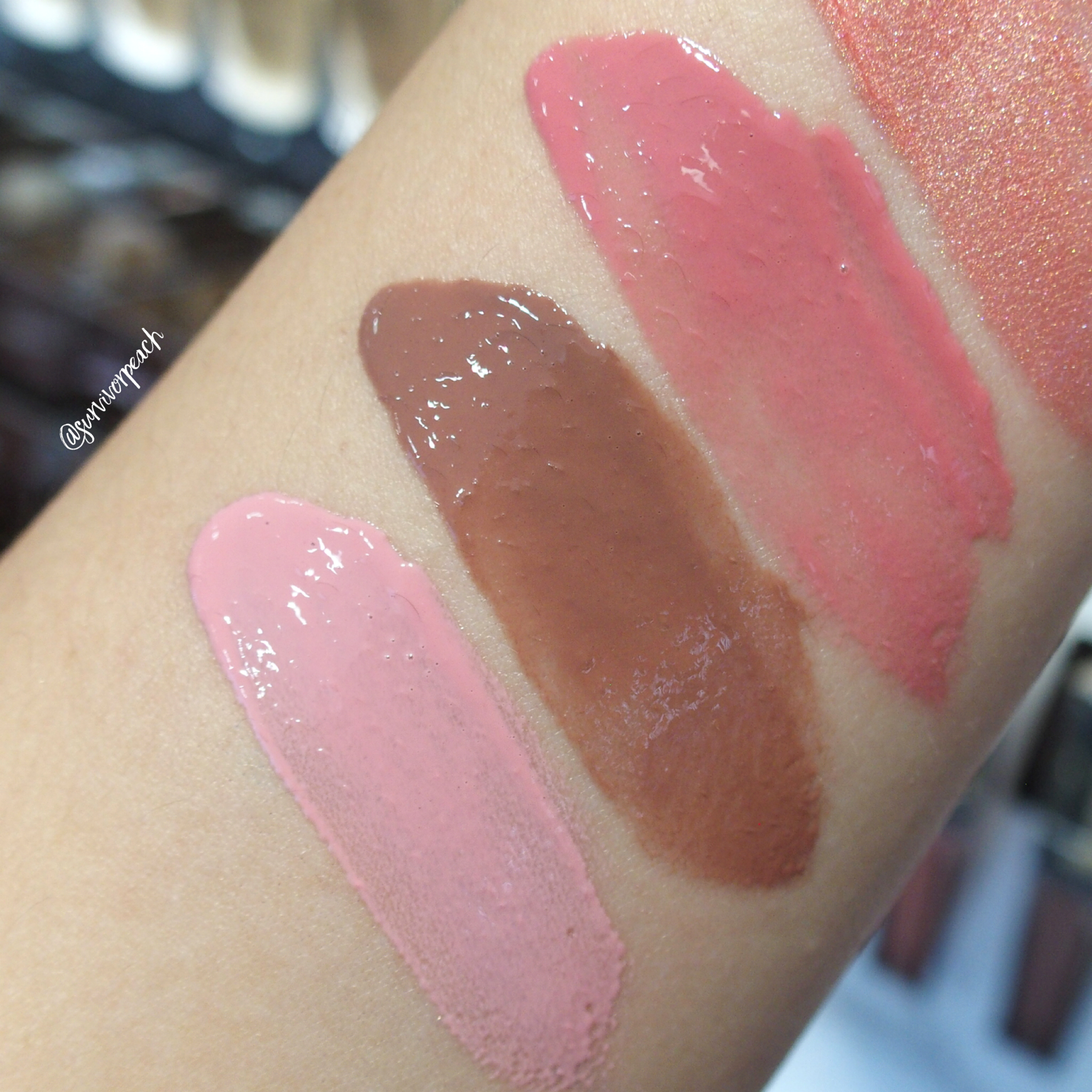 Swatches of the Hourglass Unreal High Shine Voluming Lipgloss: Solar, Prose, Dusk, Enchant