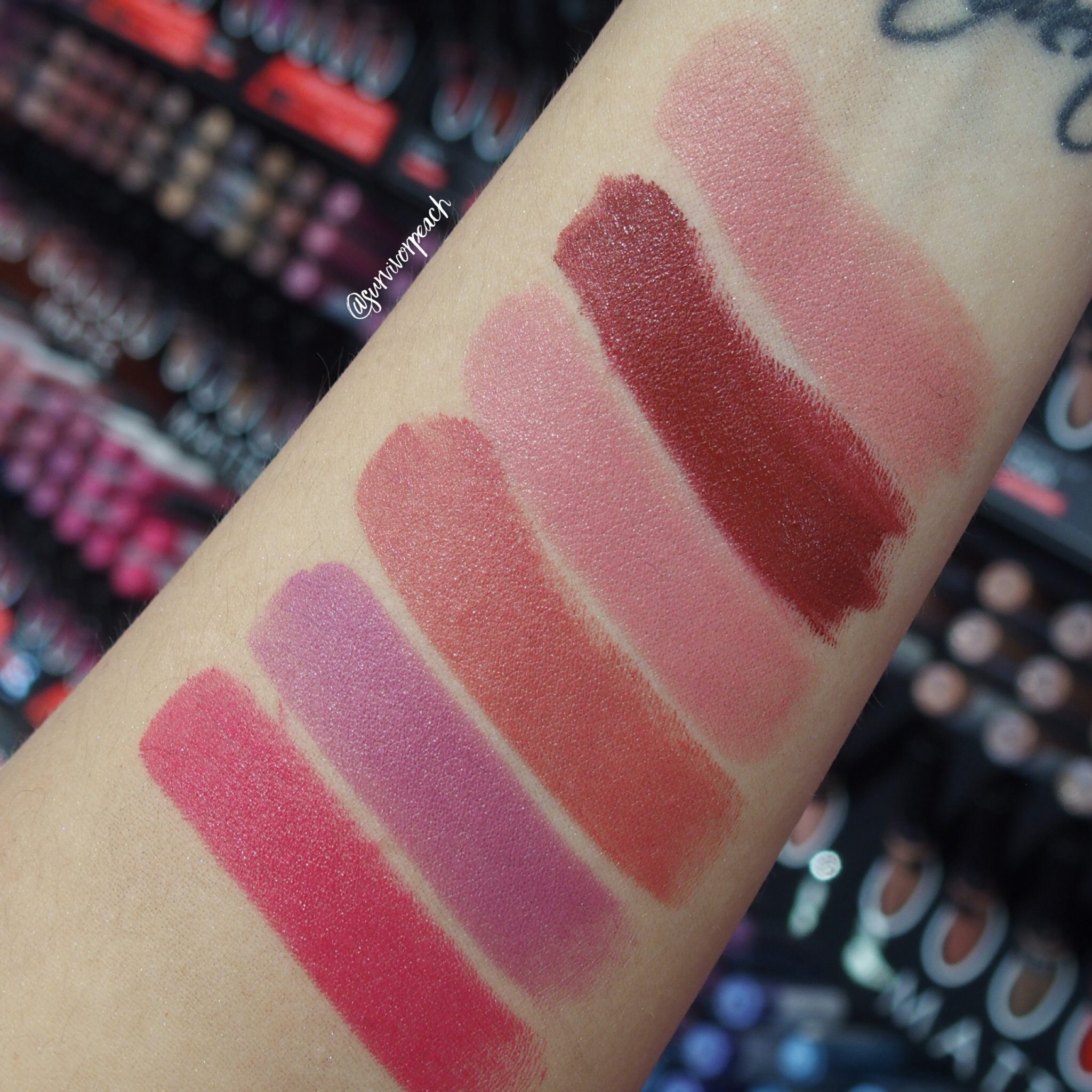 Sephora Collection Rouge Satin Lipstick swatches - S01 Let Me Dream, S02 Courtisane, S04 No Make Up, S05 Sunjkissed, S07 Bucket Kiss, S08 Drifting Away