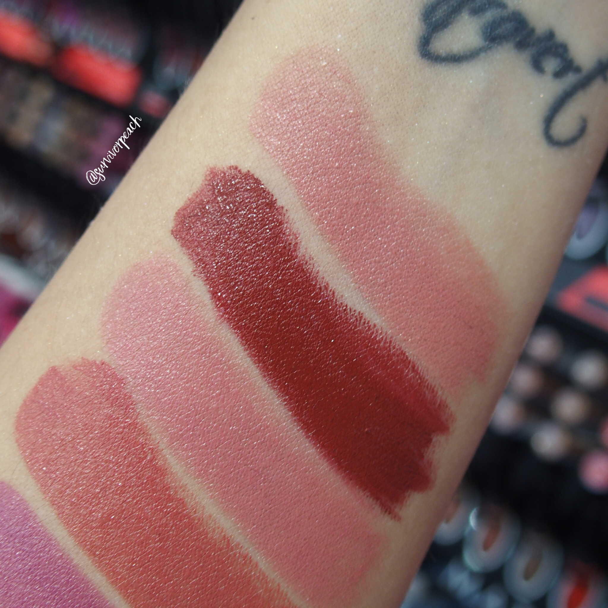 Sephora Collection Rouge Satin Lipstick swatches -S01 Let Me Dream, S02 Courtisane, S04 No Make Up, S05 Sunjkissed