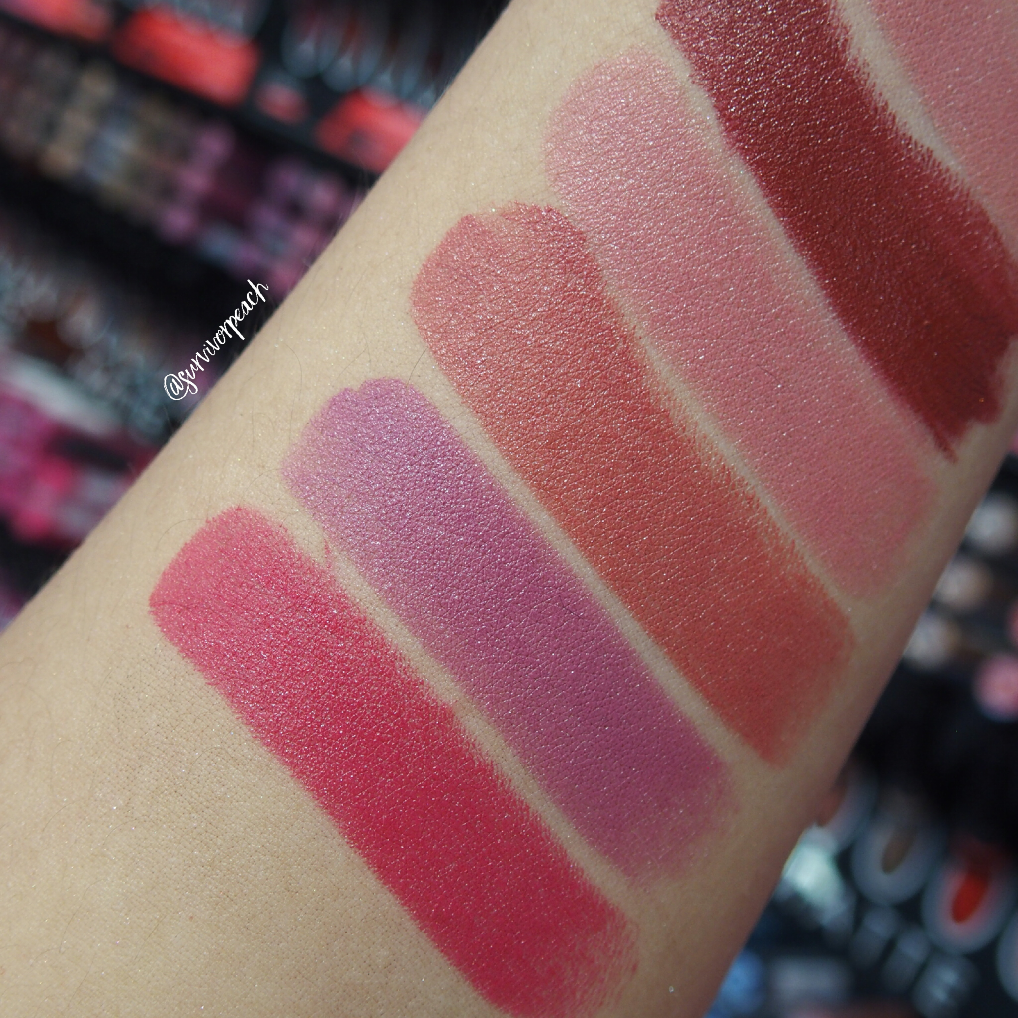 Sephora Collection Rouge Satin Lipstick swatches - S02 Courtisane, S04 No Make Up, S05 Sunjkissed, S07 Bucket Kiss, S08 Drifting Away